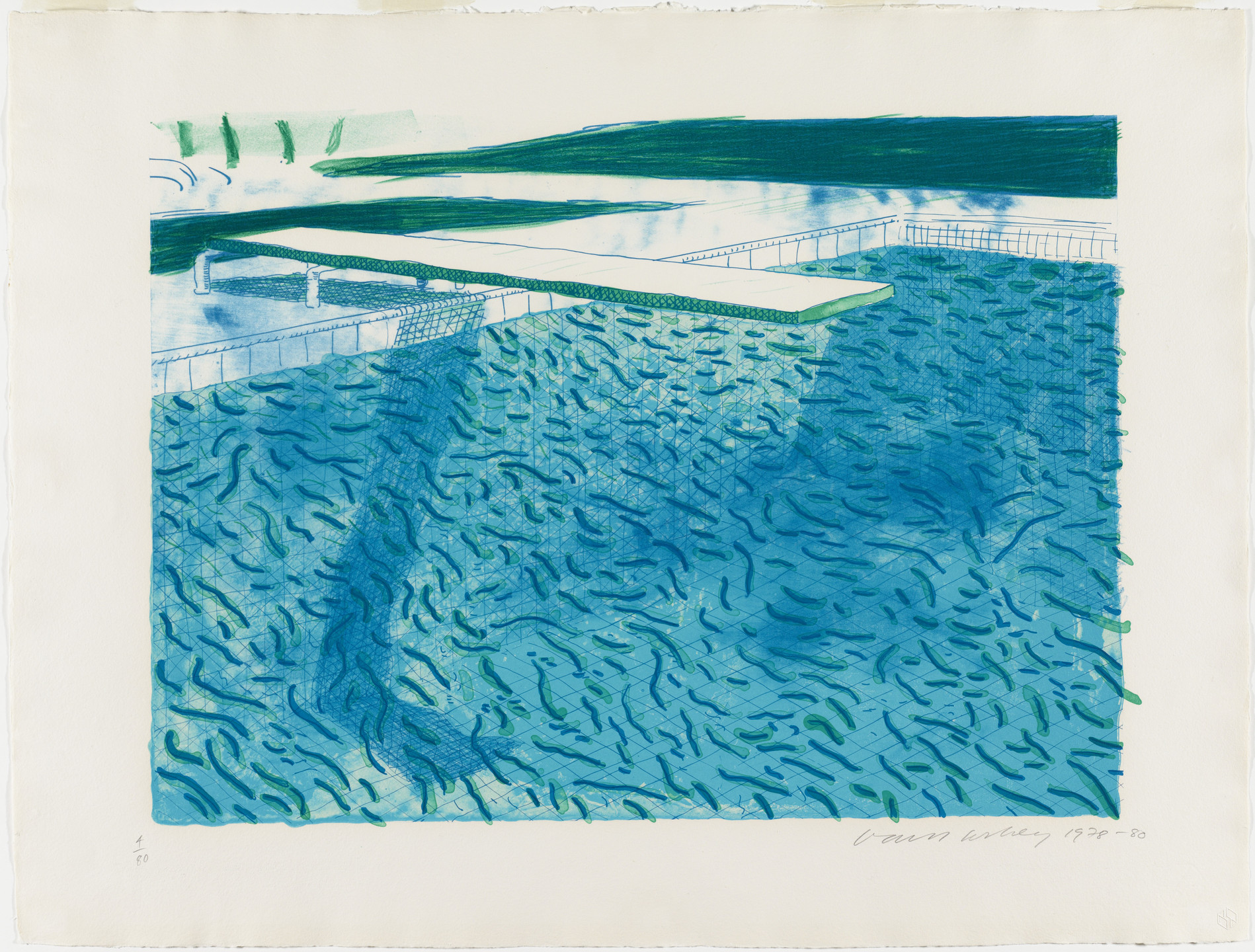 David Hockney. Lithograph of Water Made of Thick and Thin Lines, a Green Wash, a Light Blue Wash, and a Dark Blue Wash. 1978-80