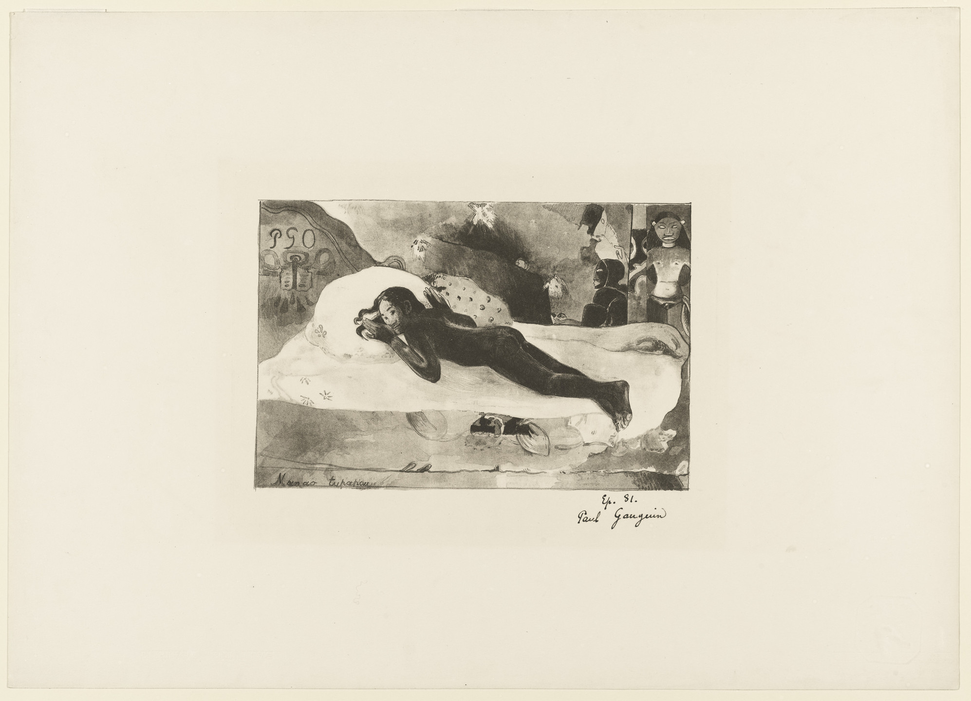 Paul Gauguin. Watched by the Spirit of the Dead (Manao Tupapau) from the portfolio L'Estampe originale, no. VI. 1894