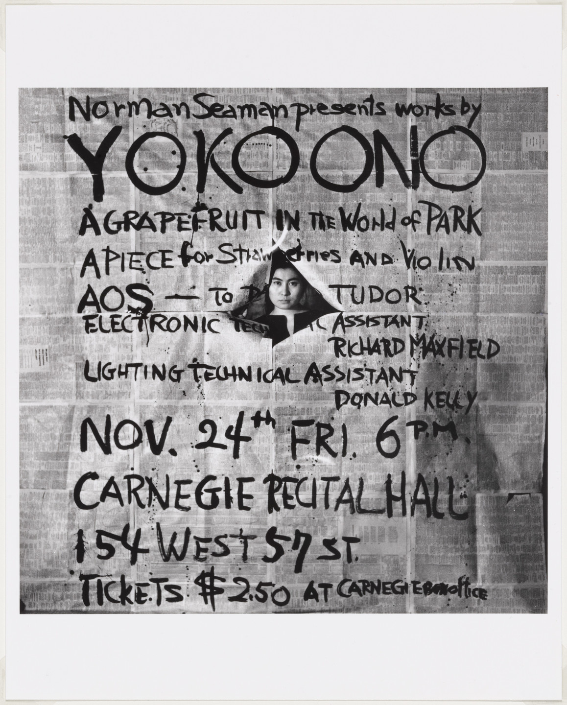 George Maciunas. Poster for Works by Yoko Ono, Carnegie Recital Hall, New York, 1961. 1961