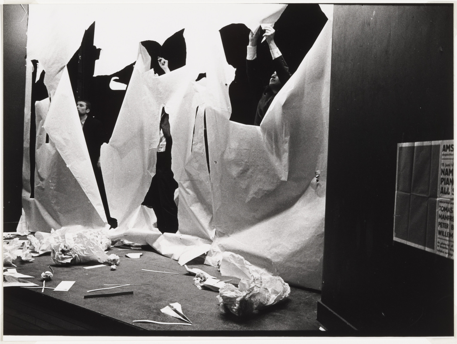 Benjamin Patterson. Benjamin Patterson's Paper Piece (1960), performed during Fluxus Festival/Theatre Compositions/Street Compositions/Exhibits/Electronic Music, Hypokriterion Theater, Amsterdam, June 23, 1963. 1963