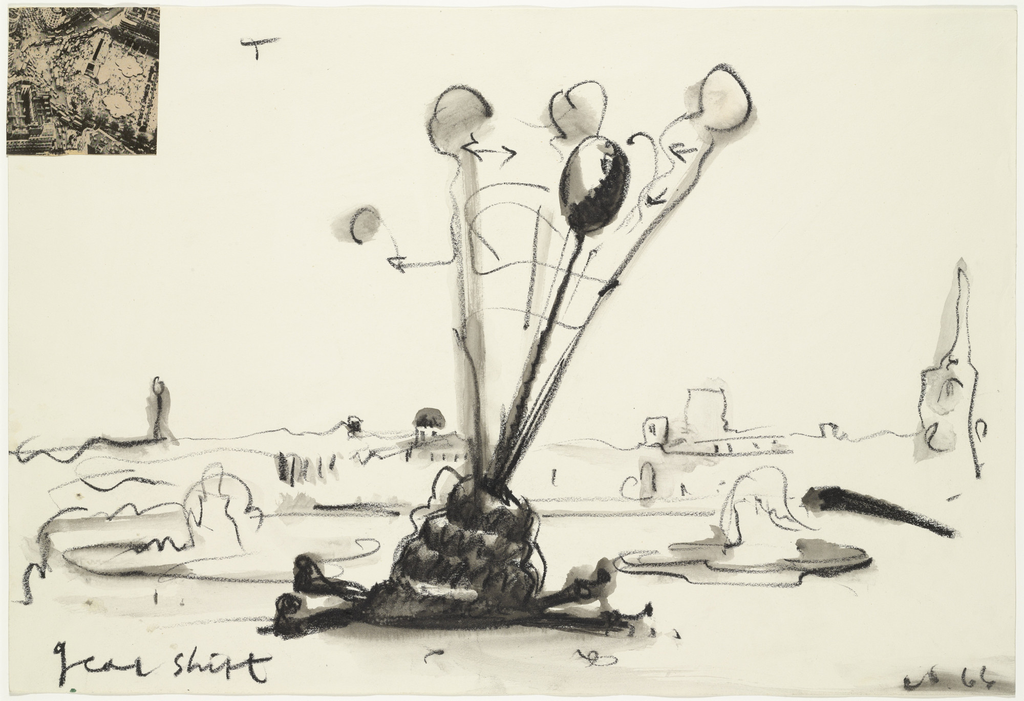 Claes Oldenburg. Proposed Colossal Monument to Replace Nelson Column in Trafalgar Square--Gearshift in Motion. 1966