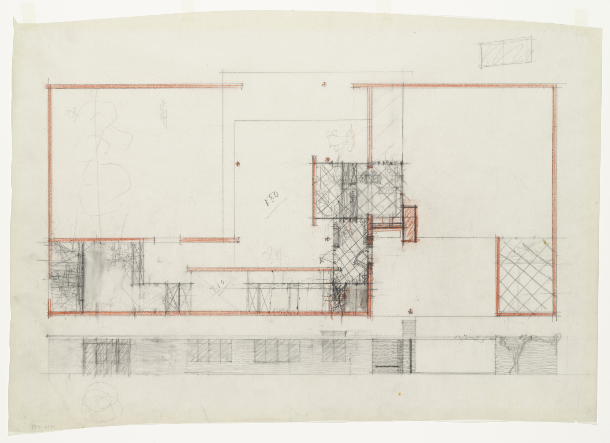 Ludwig Mies van der Rohe. Ulrich Lange House Project, Krefeld, Germany, Plan and exterior elevation. 1935