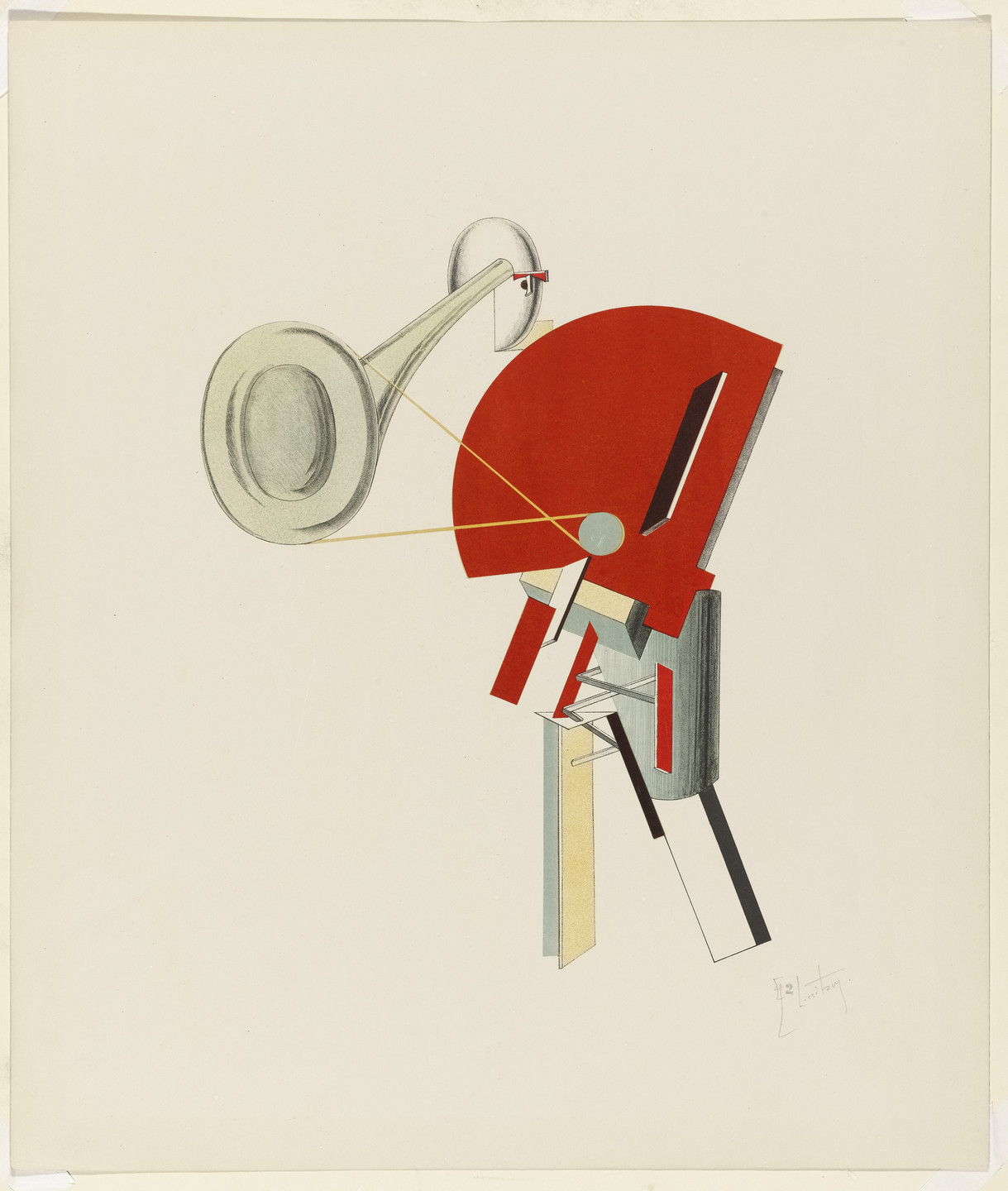 El Lissitzky. Announcer (Ansager) from Figurines: The Three-Dimensional Design of the Electro-Mechanical Show Victory over the Sun (Figurinen, die plastische Gestaltung der elektro-mechanischen Schau Sieg über die Sonne). 1920–21, published 1923