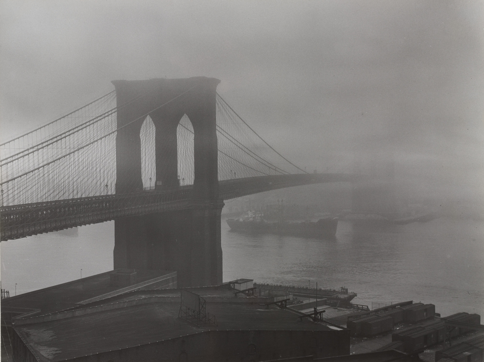Andreas Feininger. Brooklyn Bridge in Fog. 1954