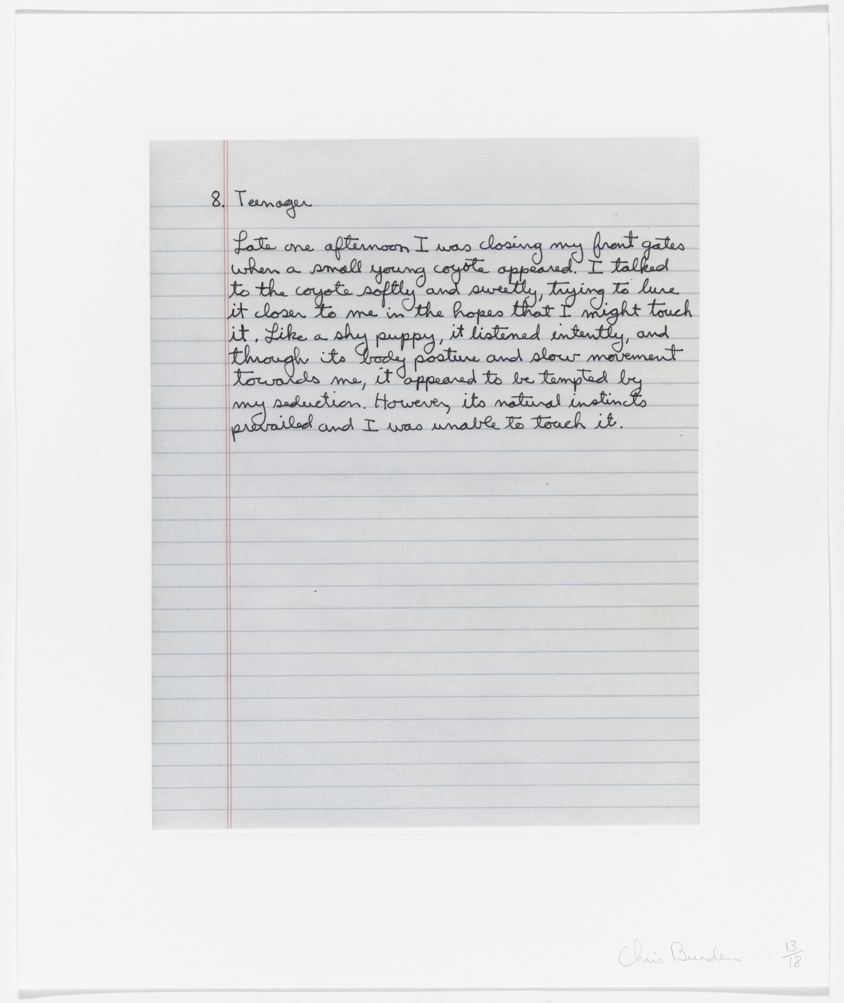 Chris Burden. Untitled from Coyote Stories. 2005