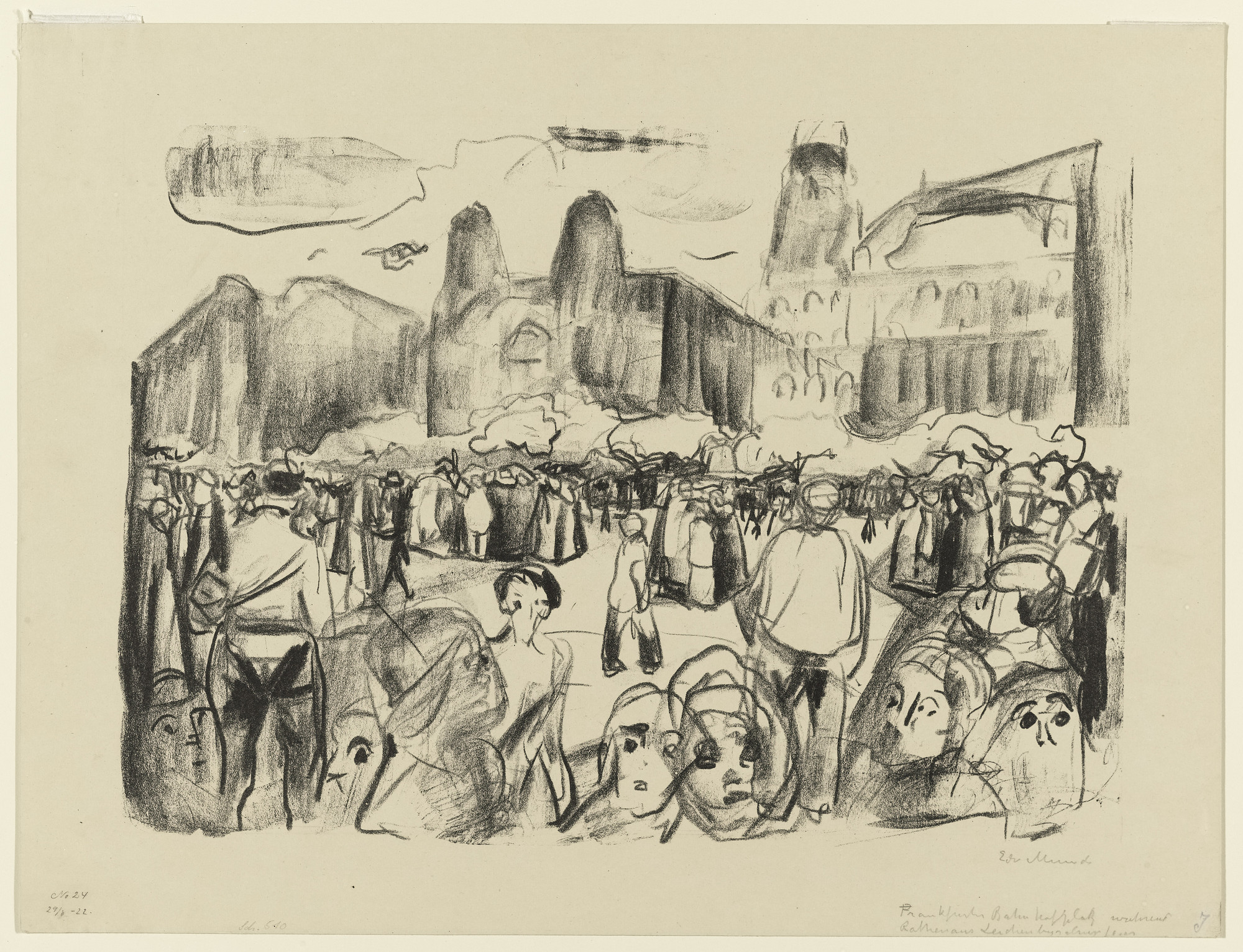 Edvard Munch. Frankfurter Bahnhofsplatz during Rathenau's Funeral. 1920