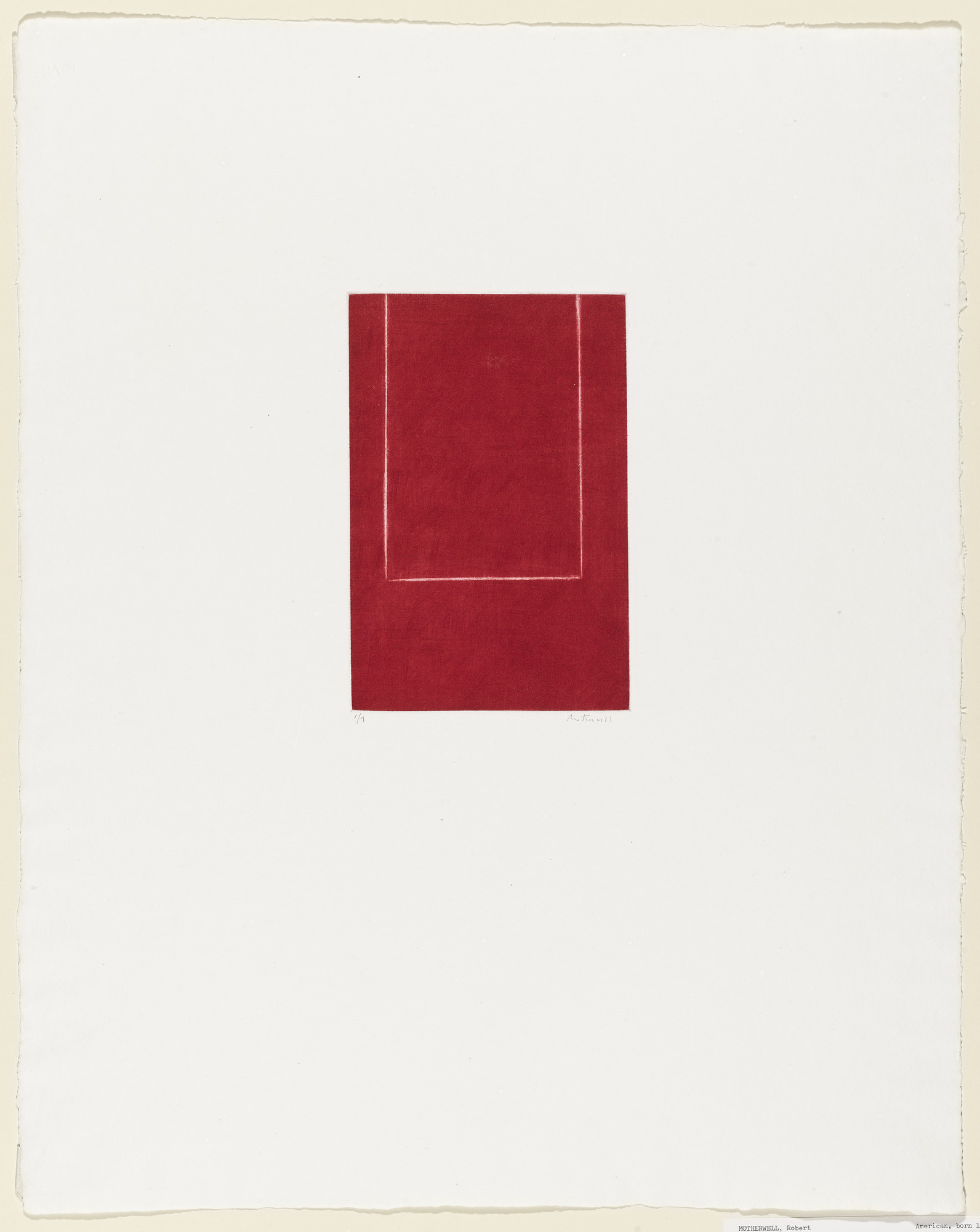 Robert Motherwell. Mezzotint in Crimson. 1968-69