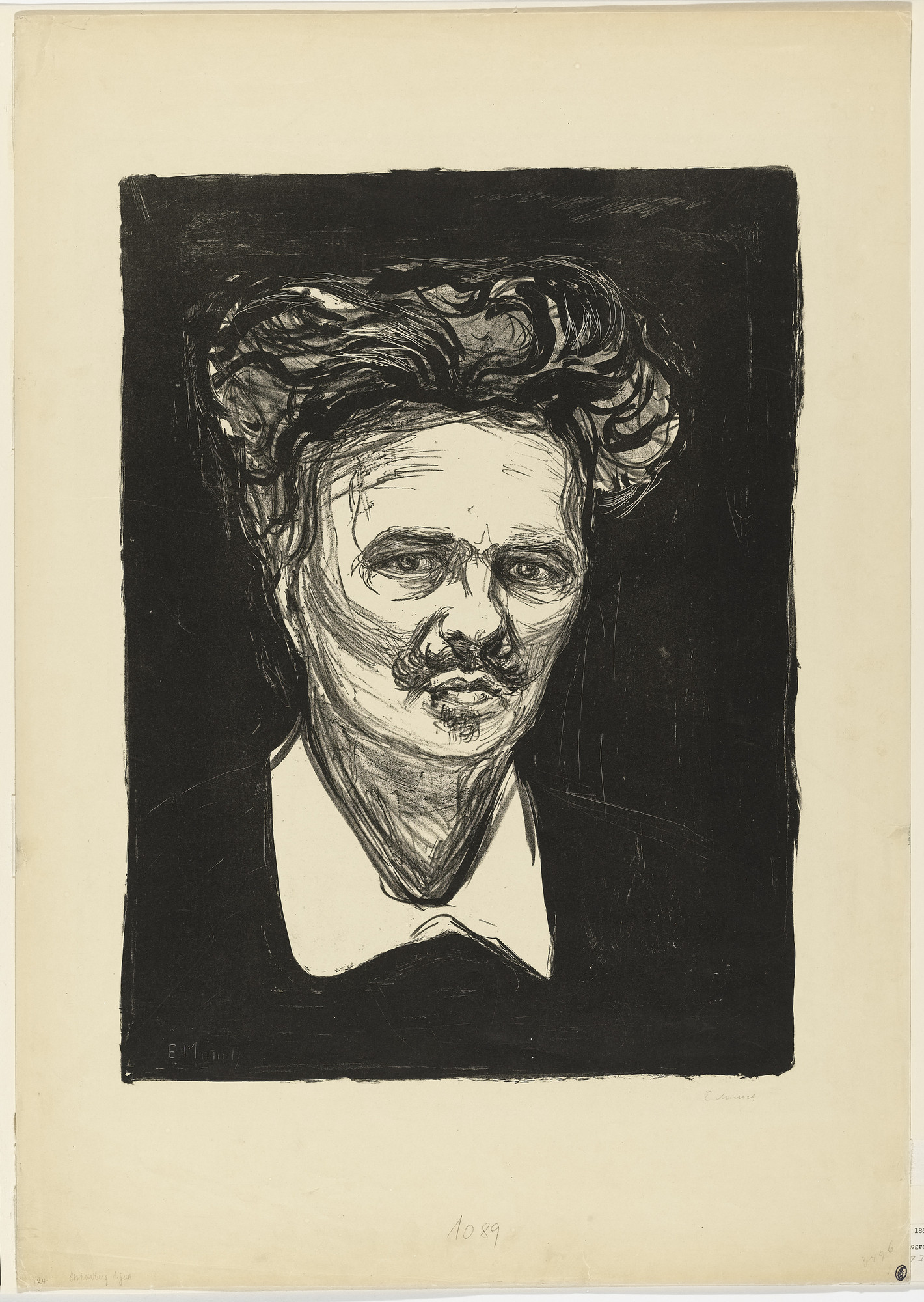 Edvard Munch. Portrait of August Strindberg. 1896