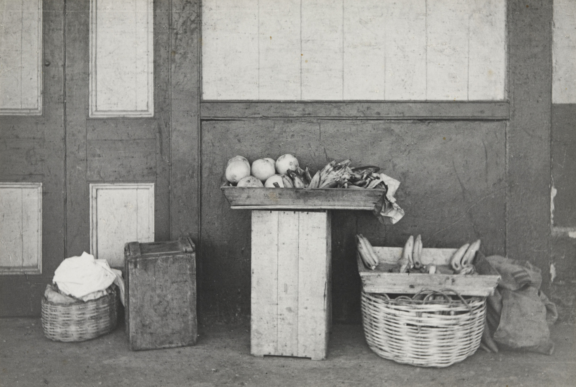 Rudy Burckhardt. Port of Spain, Trinidad. (basket, fruit in wooden boxes). 1942-43