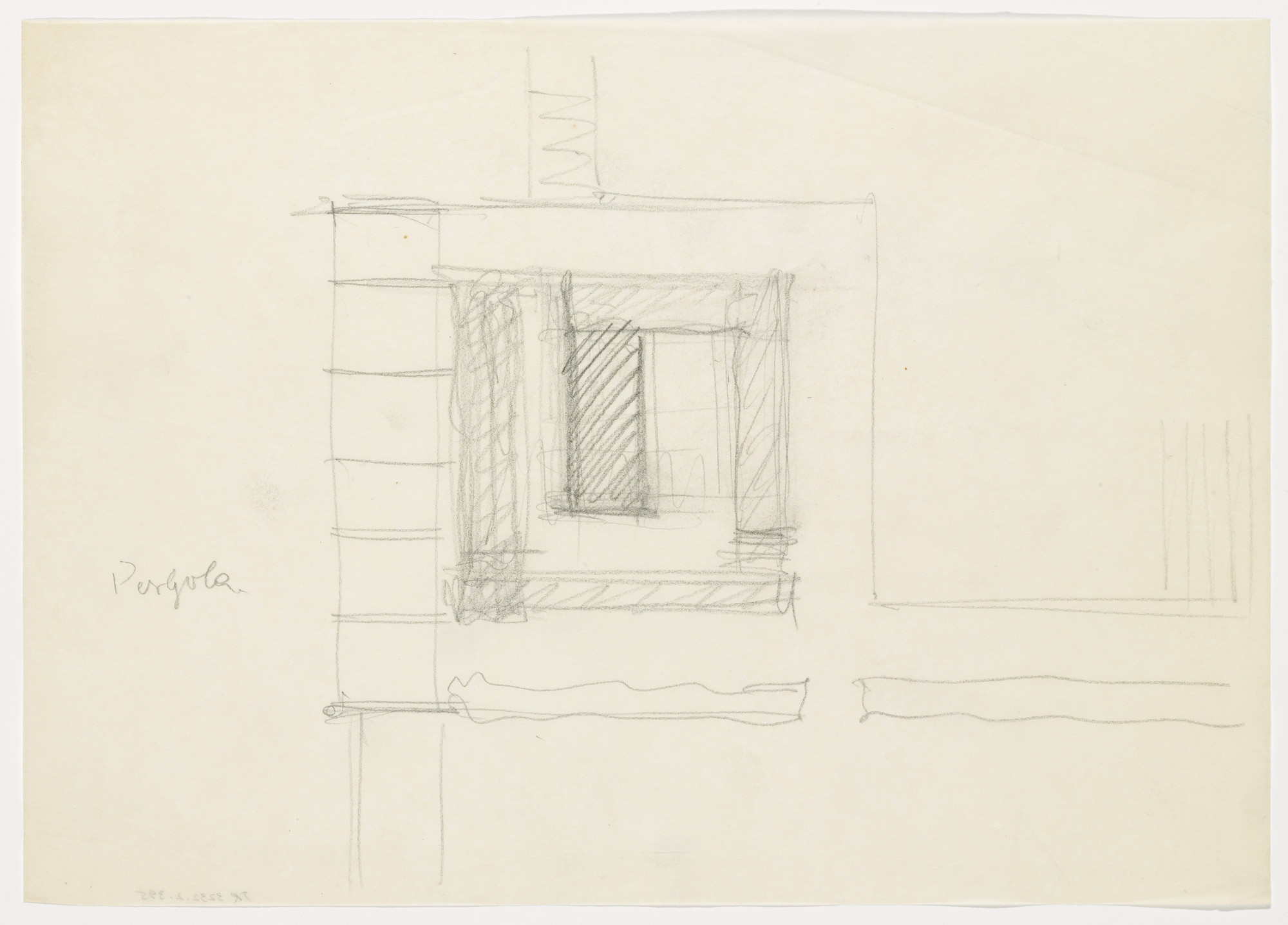 Ludwig Mies van der Rohe. Tugendhat House, Brno, Czech Republic, Pergola, southwest corner. Sketch. 1928-1930
