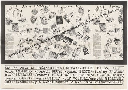 Nam June Paik. Poster for Actions/Agit Pop/Dé-Coll/Age Happening/Events/Anti Art/L'Autrisme/Art Total/Refluxus, Auditorium Maximum, Aachen, Germany, July 20, 1964. 1964