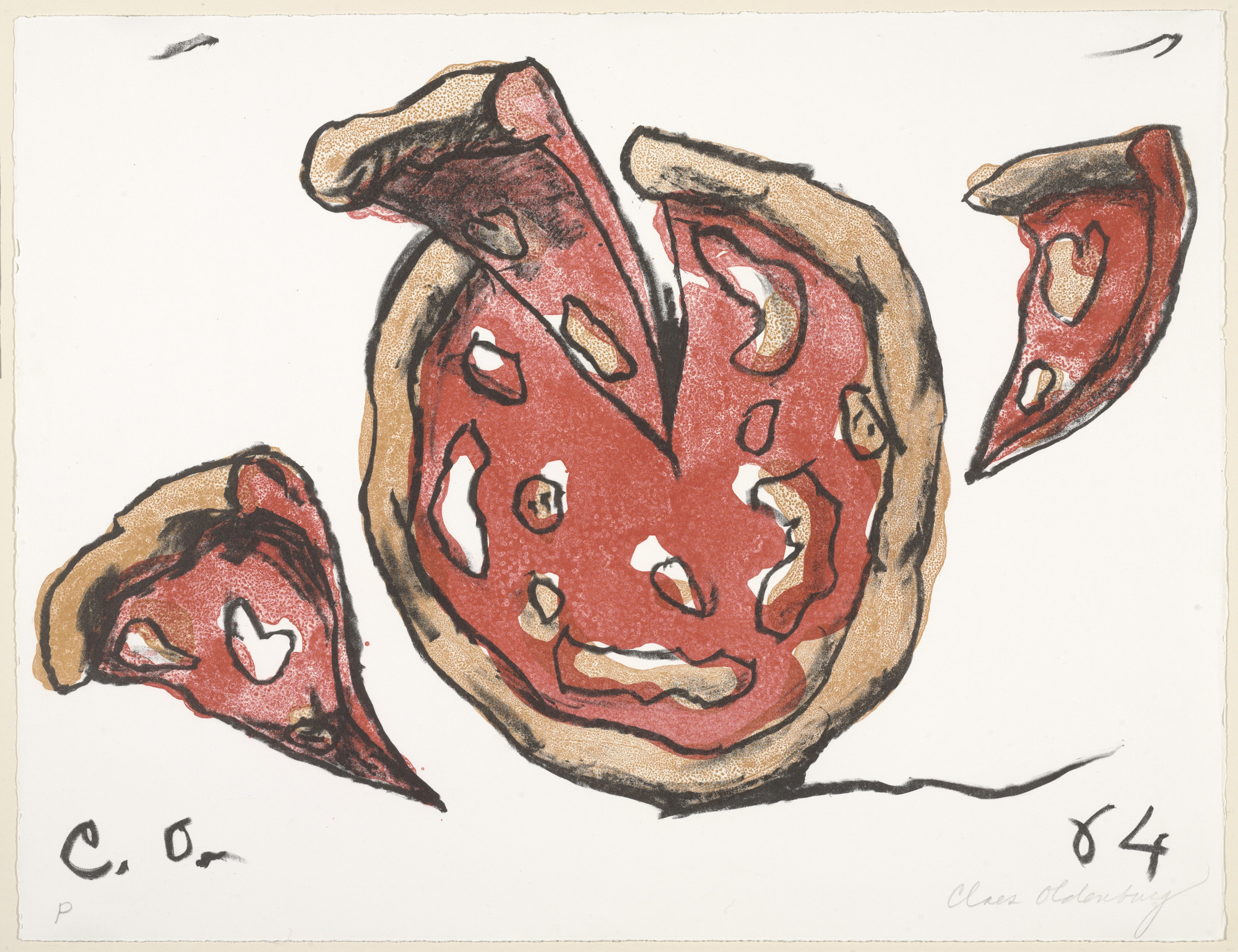 Claes Oldenburg. Flying Pizza from New York Ten. 1964, published 1965