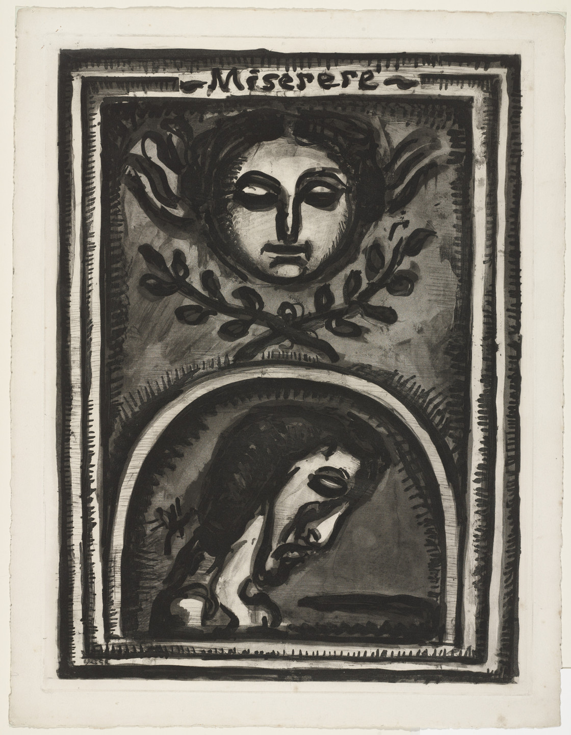 "Georges Rouault. Trial proof for ""Have Mercy Upon Me, Oh God, According to Thy Loving Kindness"", plate I from Miserere. (Book commissioned, but unpublished by Vollard; Print executed 1923; Book publi"