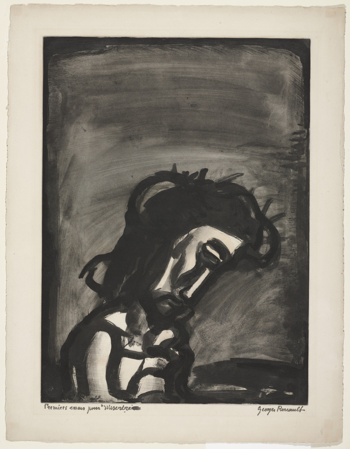 Georges Rouault. Trial proof for Jesus Mocked..., plate II from Miserere. (Book commissioned, but unpublished by Vollard; Print executed 1922; Book publi