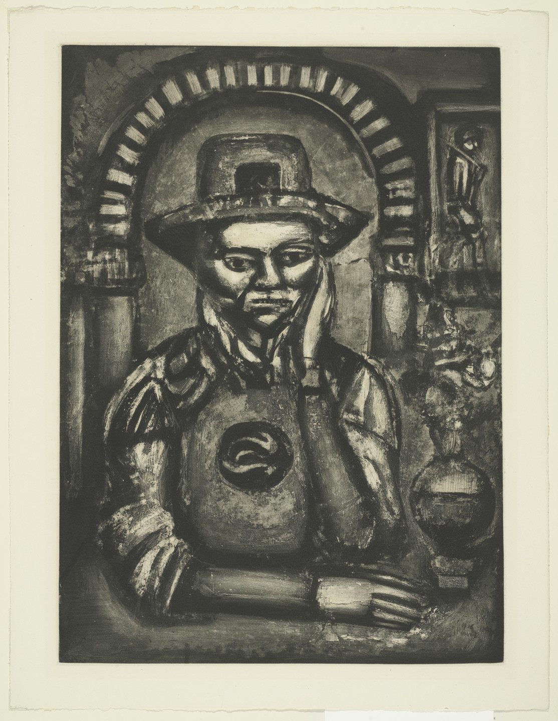 Georges Rouault. The Chinese Invented Gunpowder, They Say, and Made Us a Gift of It (Chinois inventa, dit-on, la poudre à canon, nous en fit don), plate XXXVIII from Miserere. 1926, published 1948