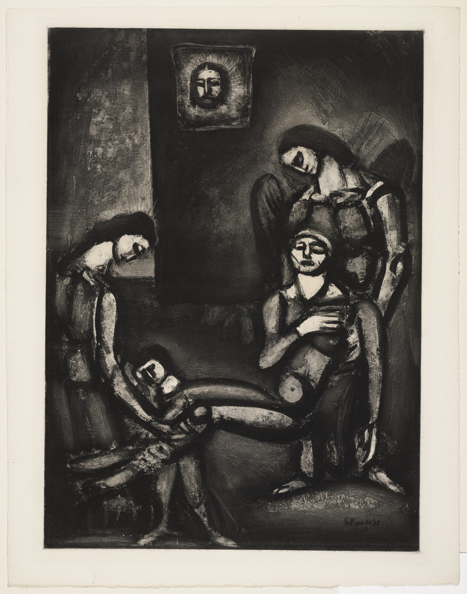 "Georges Rouault. ""The Righteous, like Sandalwood, Perfume the Axe That Falls on Them"" («Le Juste comme le bois de santal parfume la hache qui le frappe»), plate XLVI from Miserere. 1926, published 1948"