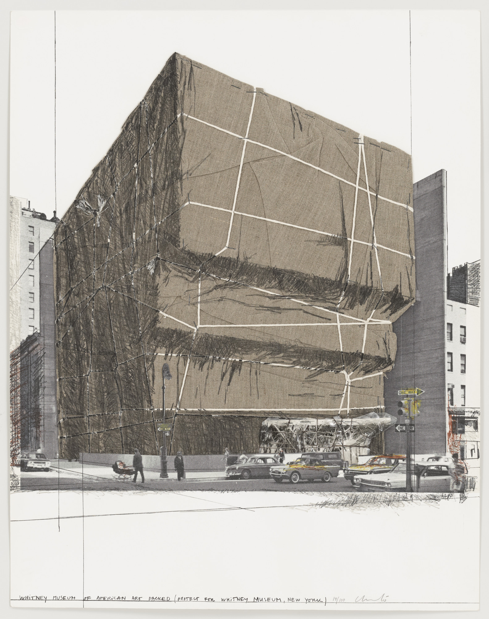 Christo. The Whitney Museum, New York, Packed from the portfolio (Some) Not Realized Projects. (February 22, 1971)