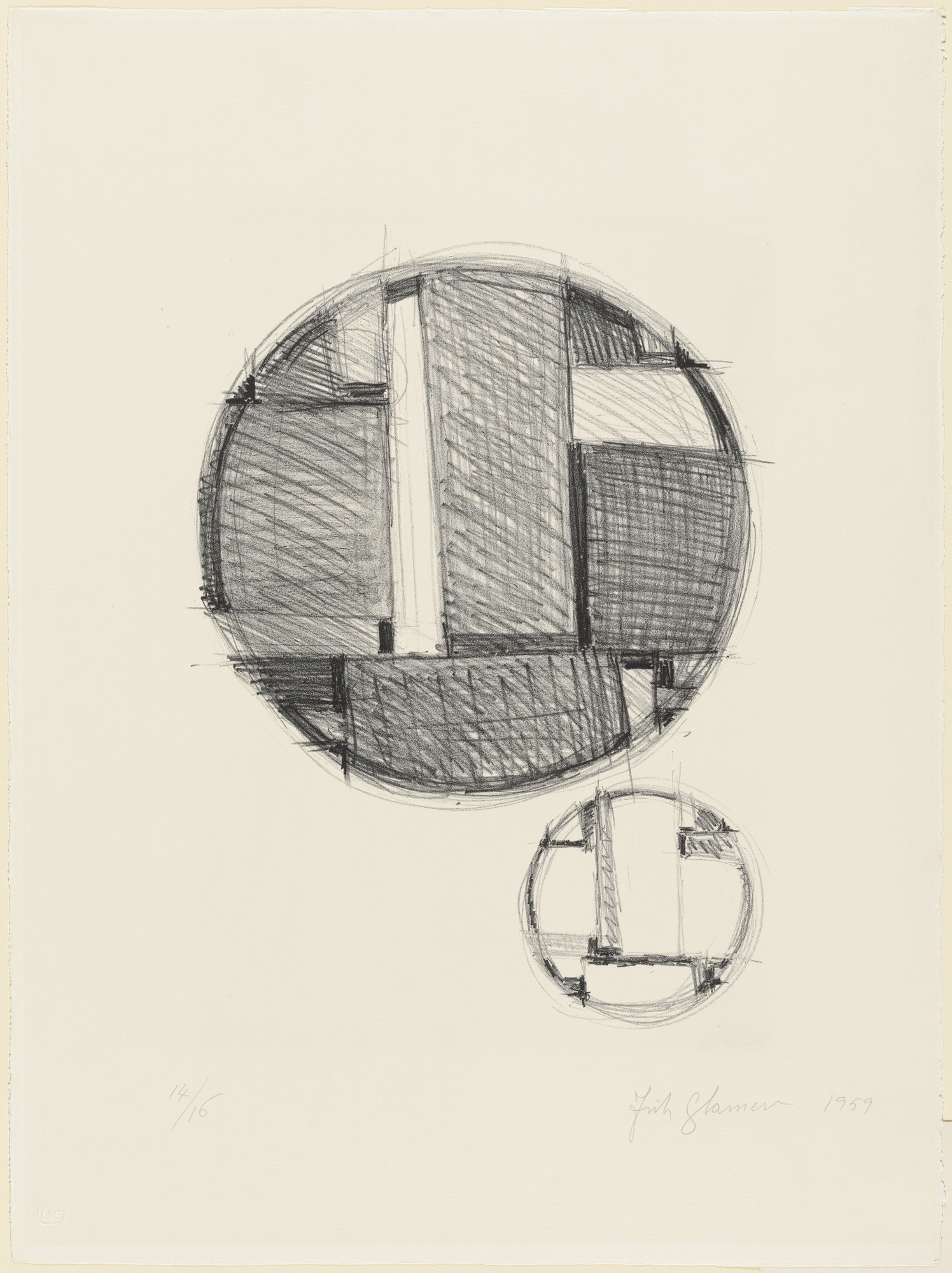 Fritz Glarner. Drawing for Tondo in Two Variations. 1959