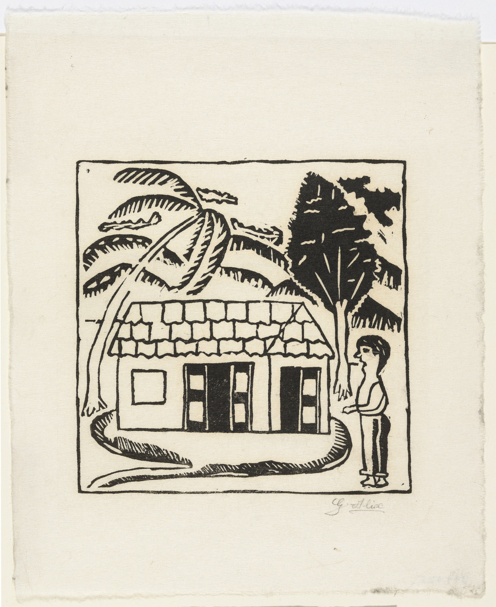 Gabriel Alix. Untitled from 10 Original Woodcuts Signed by the Popular Painters of Haiti (10 Gravures Originales signées par les peintres populaires d'Haiti). 1947