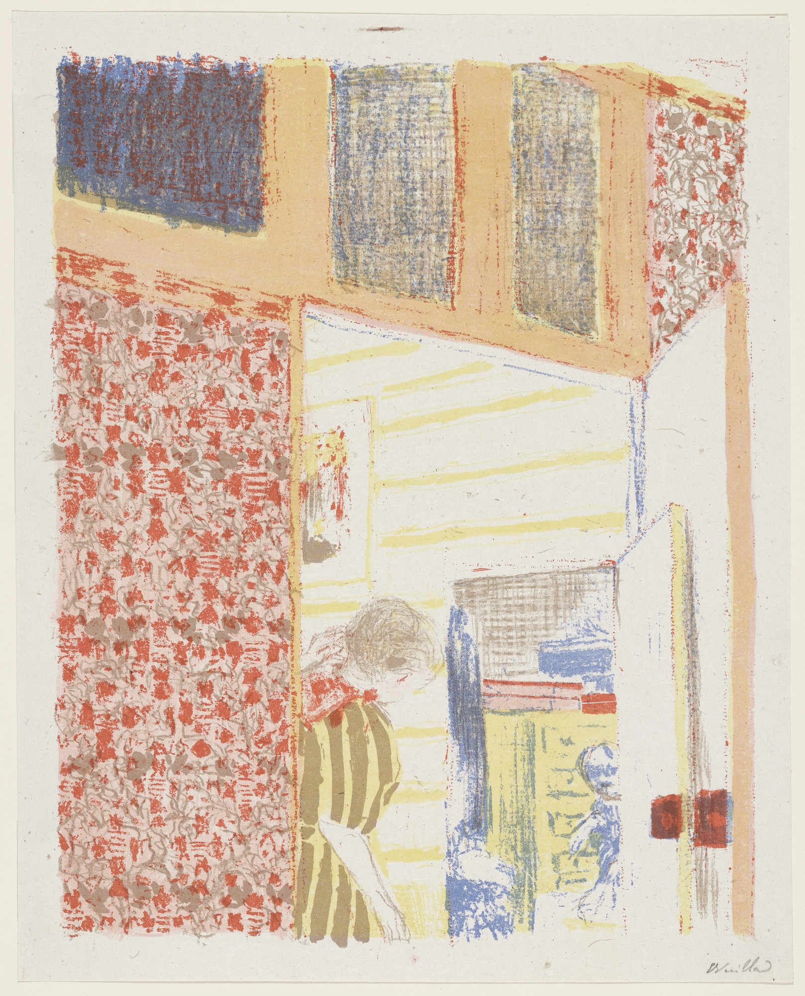 Édouard Vuillard. Interior with Pink Wallpaper III (Intérieur aux tentures roses III) from Landscapes and Interiors (Paysages et intérieurs). 1899