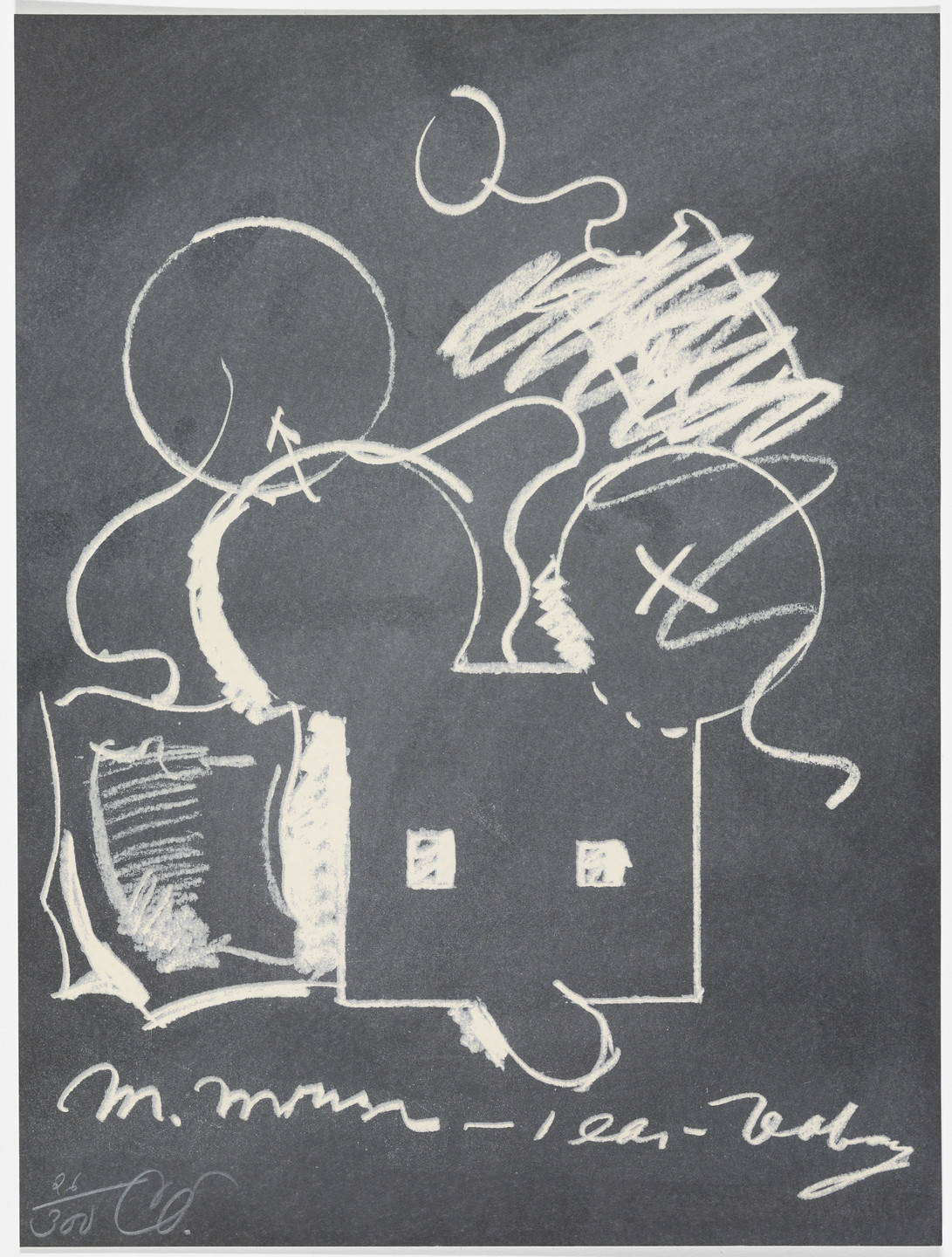 Claes Oldenburg. M. Mouse (with) 1 Ear (equals) Tea Bag Blackboard Version (1965) from The New York Collection for Stockholm. 1973