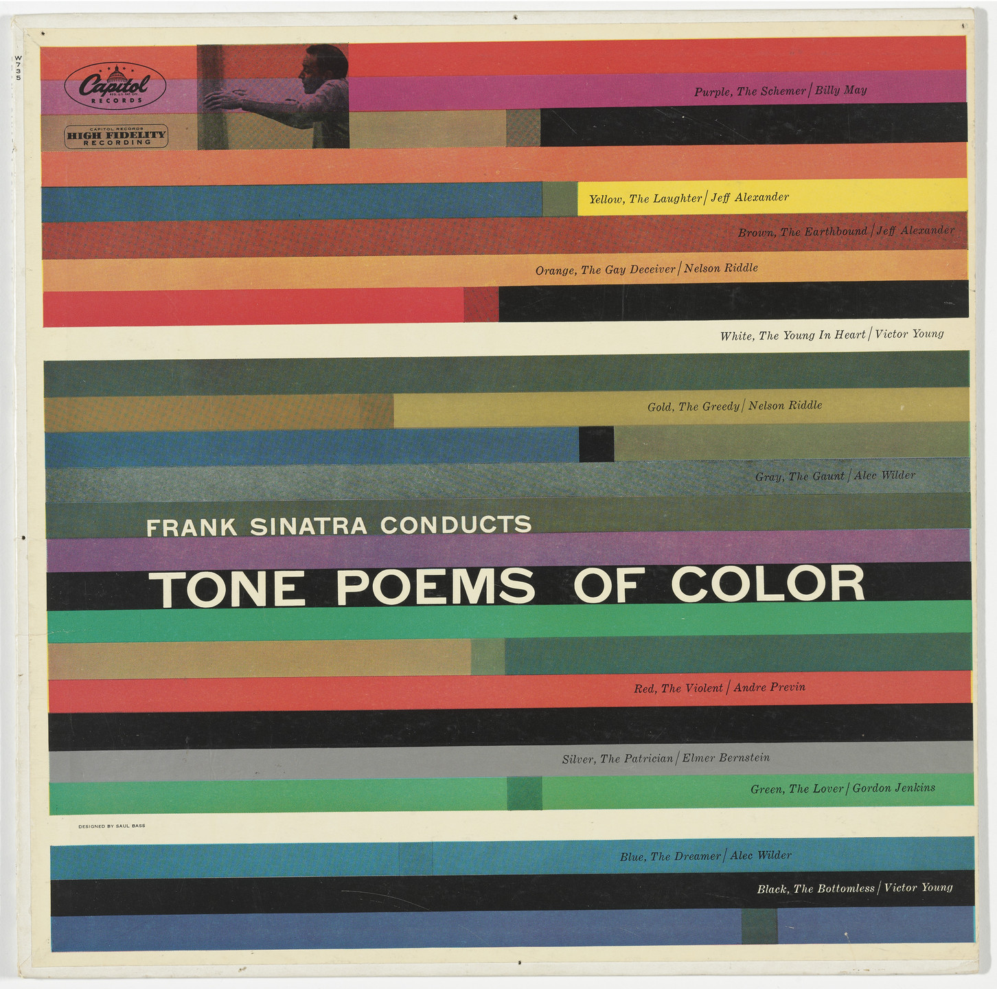 Saul Bass, Frank Sinatra, Capitol Records. Album Cover for Frank Sinatra Conducts Tone Poems of Color. 1956