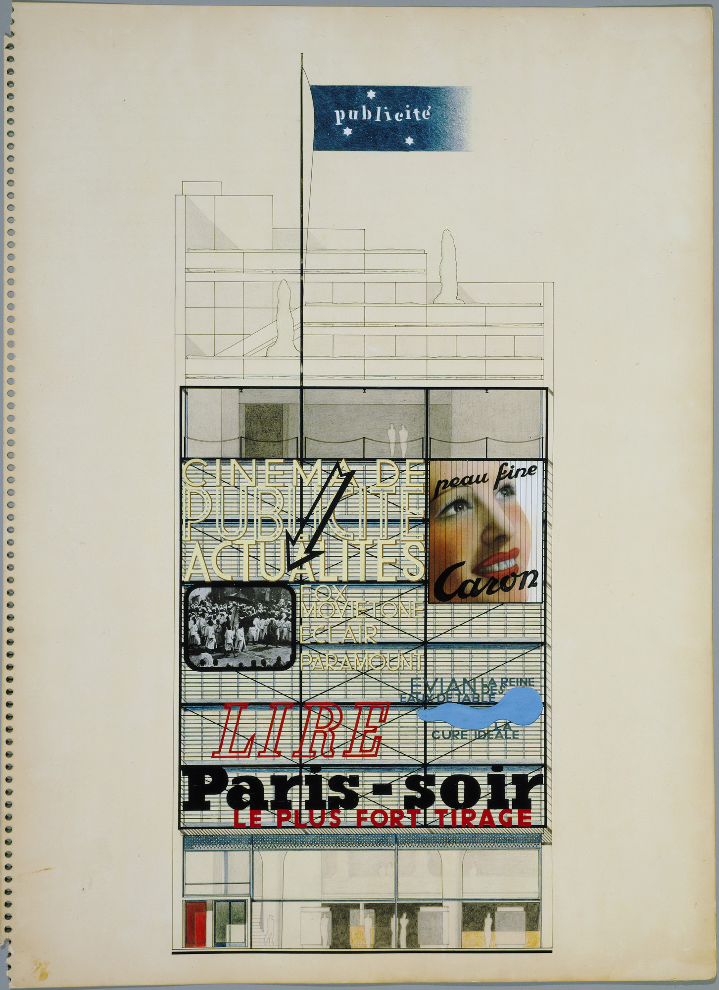 Oscar Nitzchke. Maison de la Publicité Project, Paris, France (Elevation). 1934-36