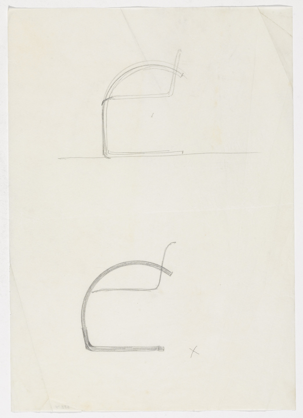 Ludwig Mies van der Rohe. Chair with Arms (Two elevation sketches). early 1930s