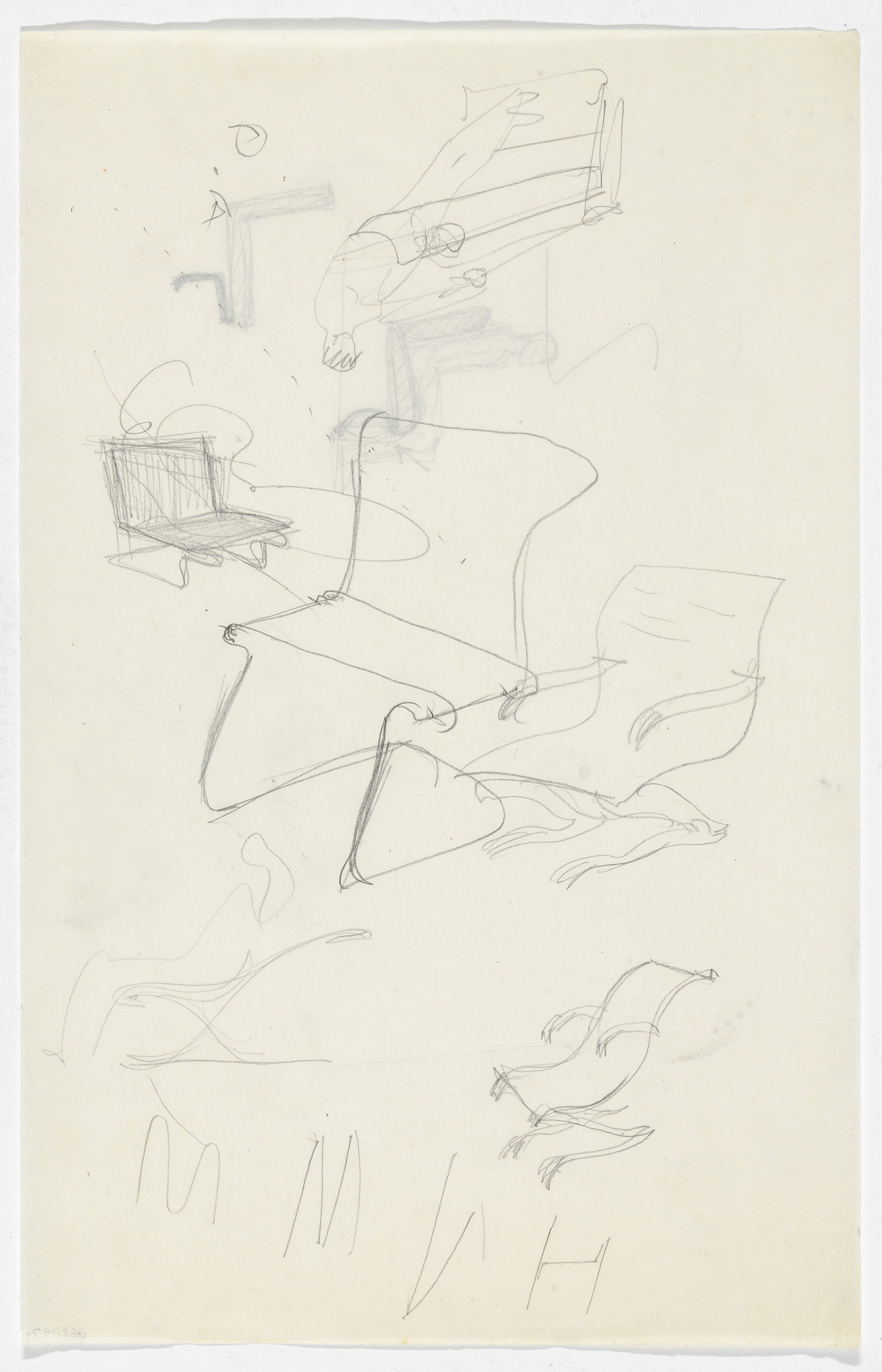 Ludwig Mies van der Rohe. Lounge Chair with and without Arms (recto and verso) (Perspective and elevation sketches). 1934