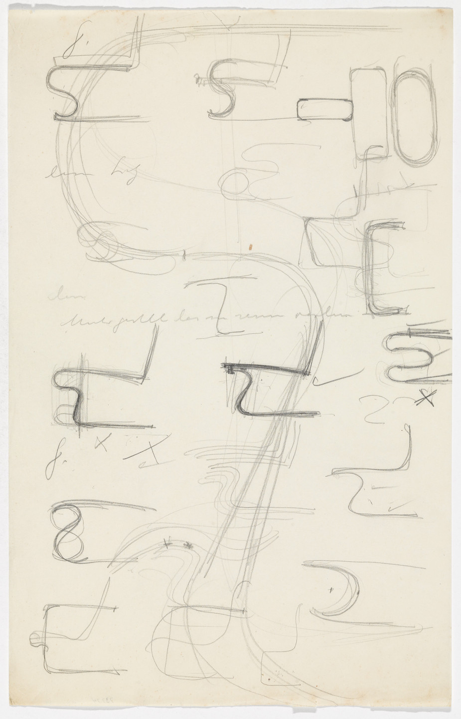 Ludwig Mies van der Rohe. Chair without Arms (Tugendhat-related studies) (Elevation sketches). c.1930