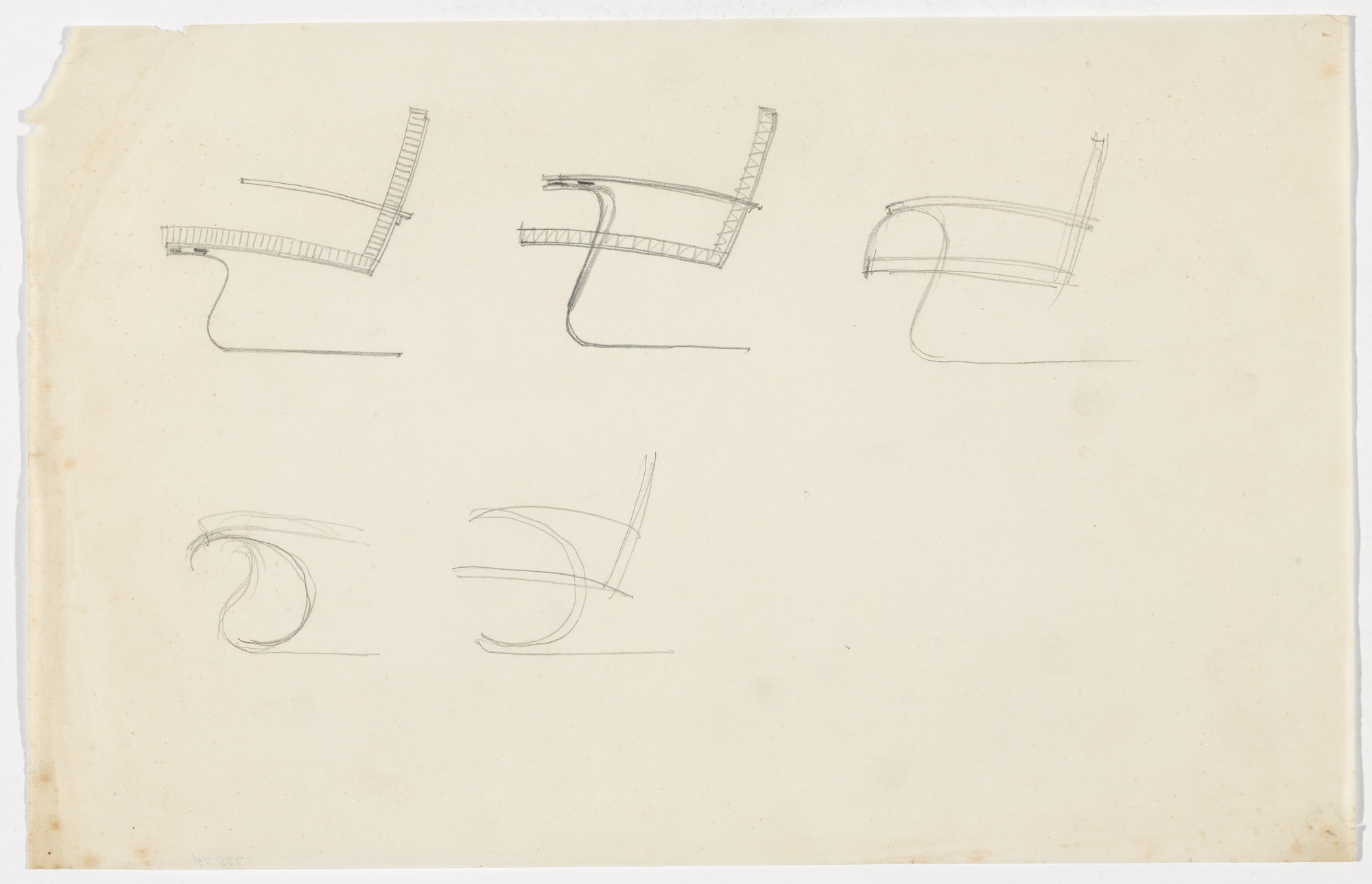 Ludwig Mies van der Rohe. Tugendhat Chair. Chair with Arms. (Elevation sketches). c.1930