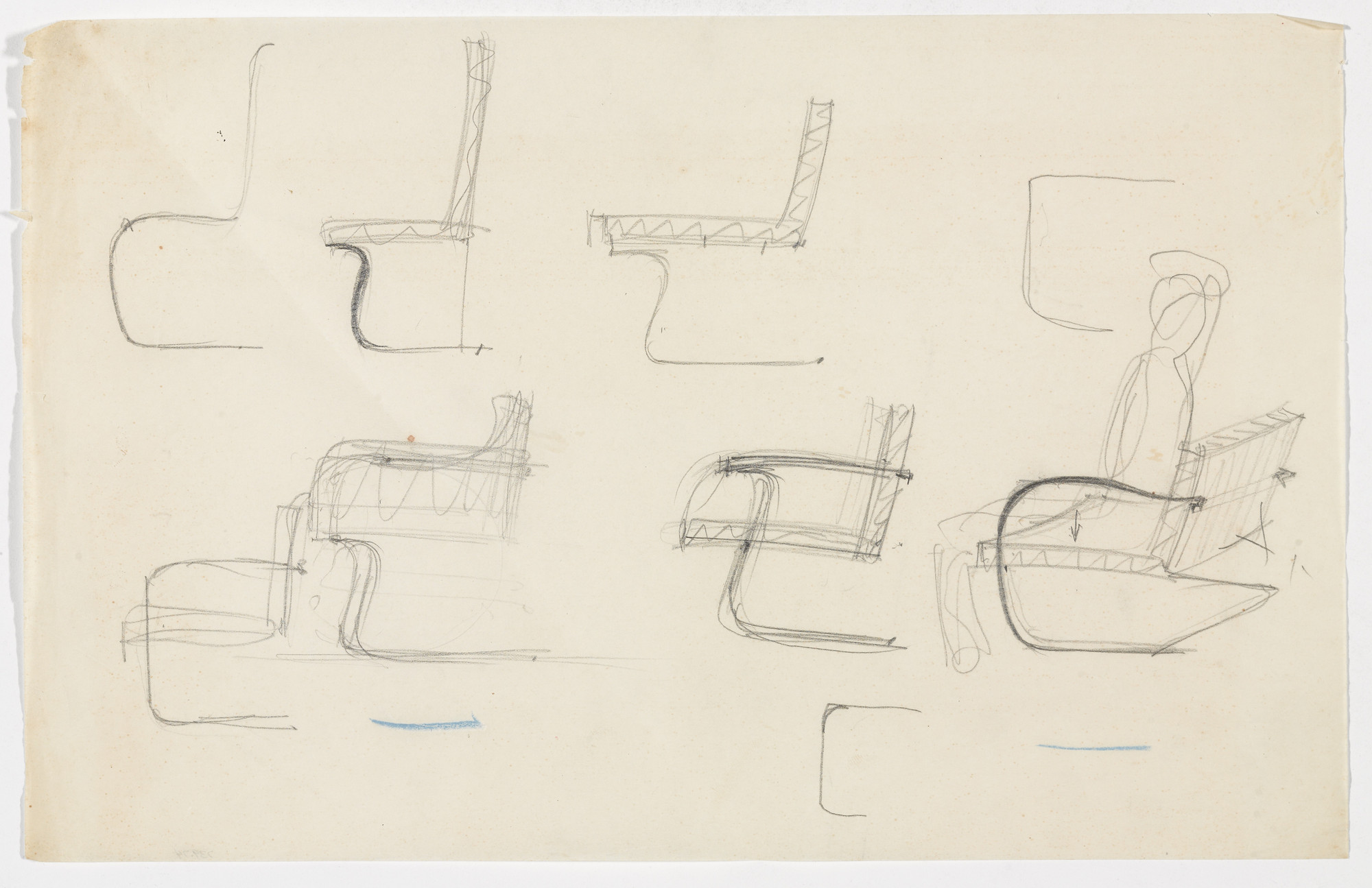 Ludwig Mies van der Rohe. Tugendhat Chair. Brno Chair. Two Chairs with Arms. (Elevation sketches, perspective sketch). c.1930