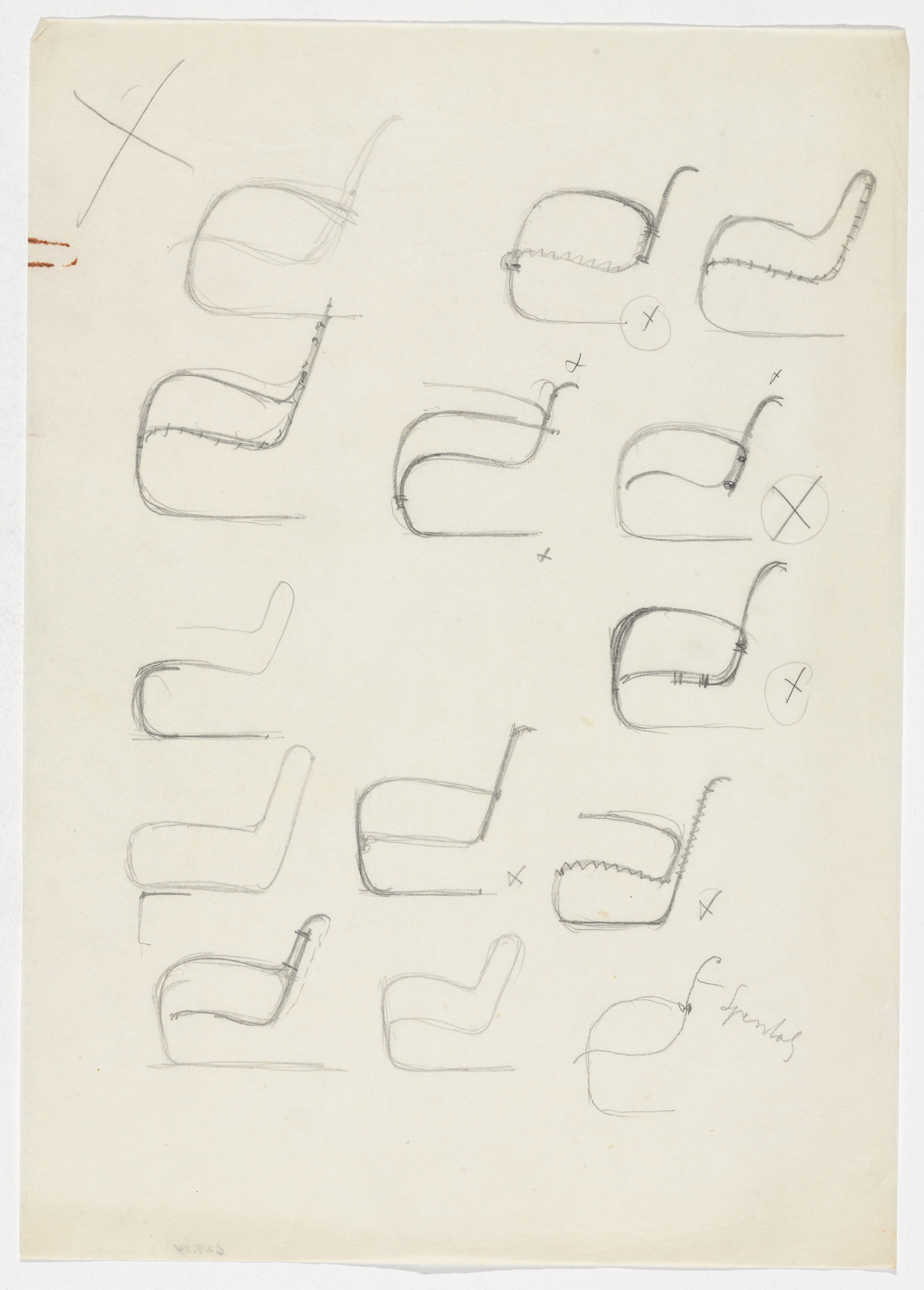 Ludwig Mies van der Rohe. Lounge Chair with and without Arms (Fourteen elevation sketches). 1934