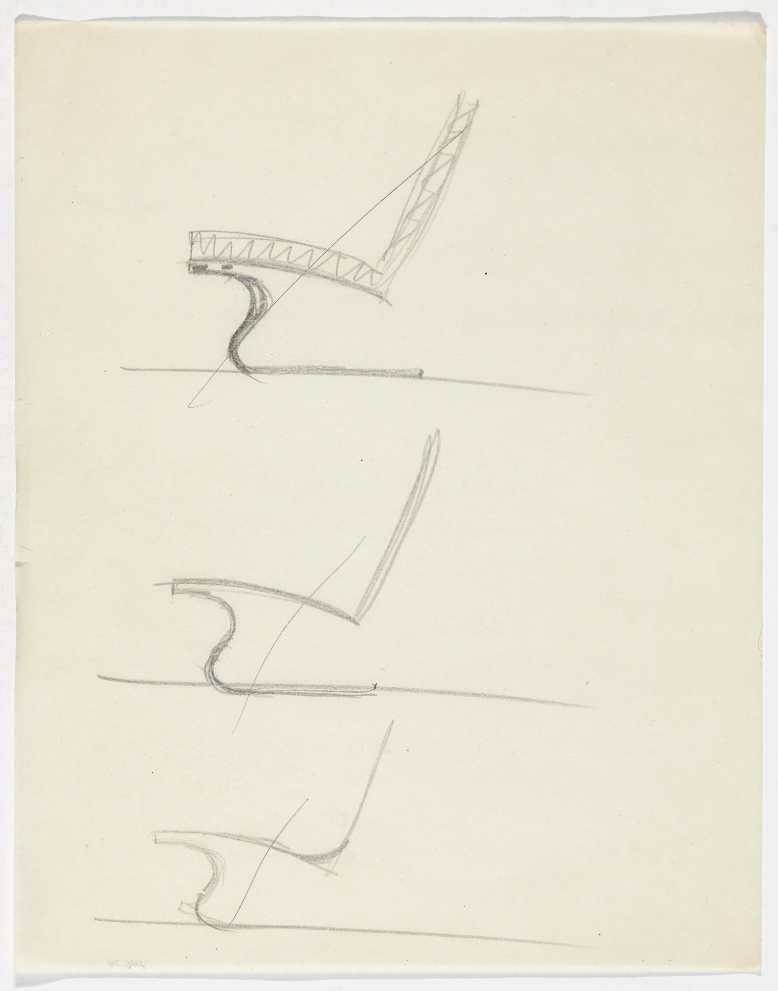 Ludwig Mies van der Rohe. Tugendhat Chair (Three elevation sketches). c.1930