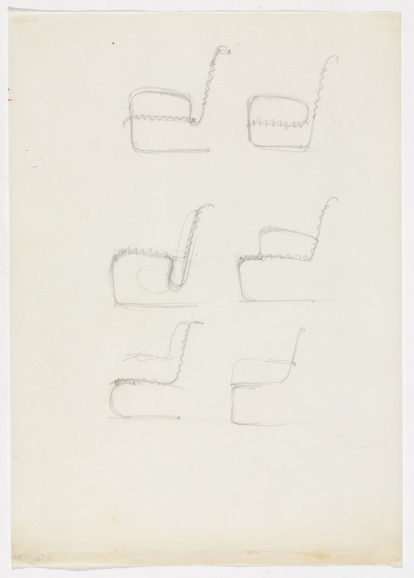 Ludwig Mies van der Rohe. Chairs with Arms (Three elevation sketches). 1934