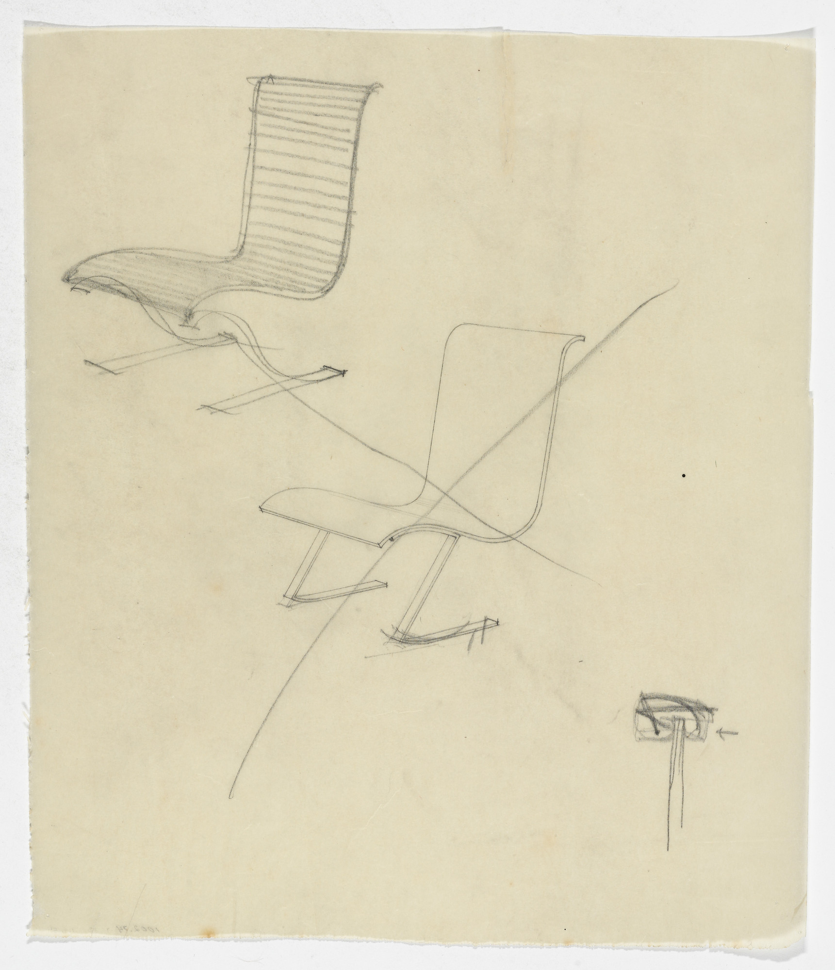 Ludwig Mies van der Rohe. Lounge Chair without Arms (Elevation sketches). 1934