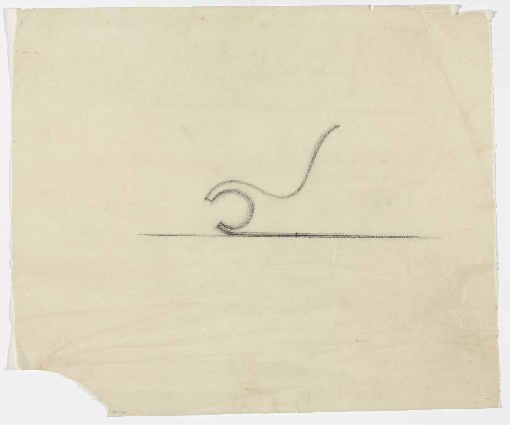 Ludwig Mies van der Rohe. Spring Chair without Arms (Elevation sketch). 1933-1934