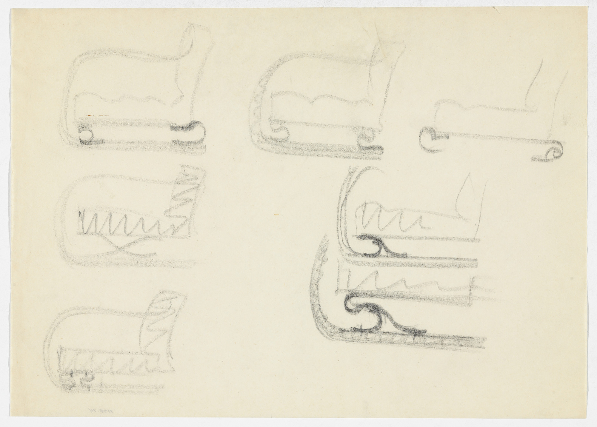 Ludwig Mies van der Rohe. Lounge Chair with Arms, Elevation sketches. 1934-1935