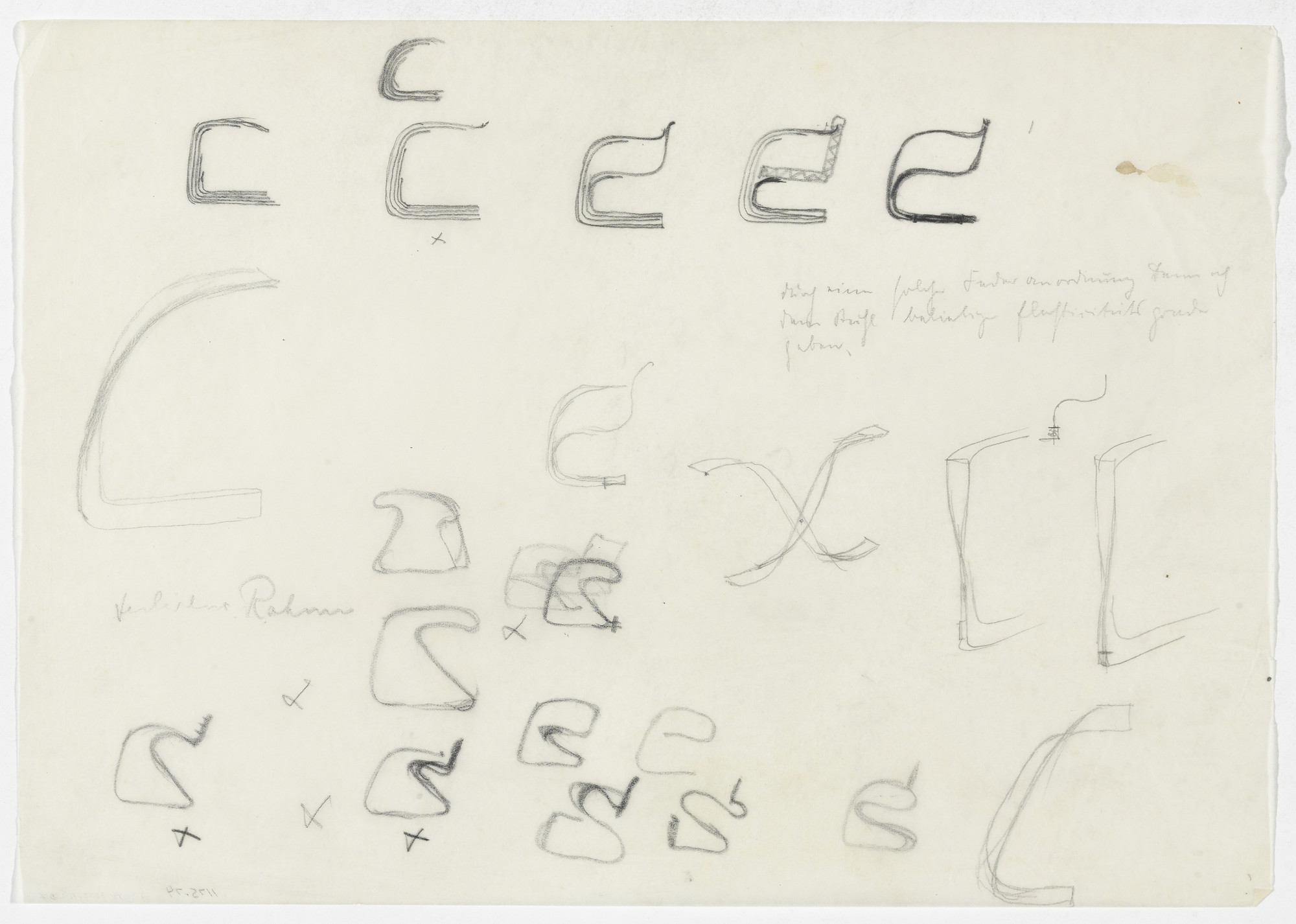 Ludwig Mies van der Rohe. Chair with Arms, Elevation sketches. 1934-1935