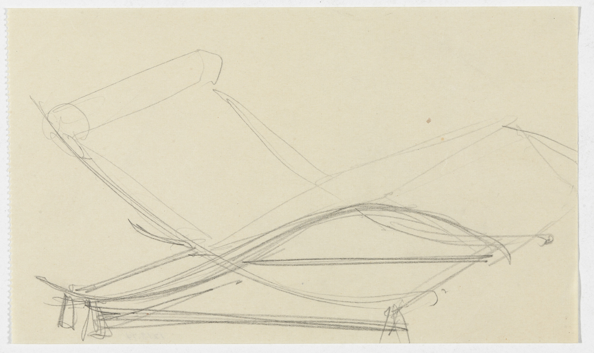 Ludwig Mies van der Rohe. Reclining Chair without Arms (Perspective sketch). 1934
