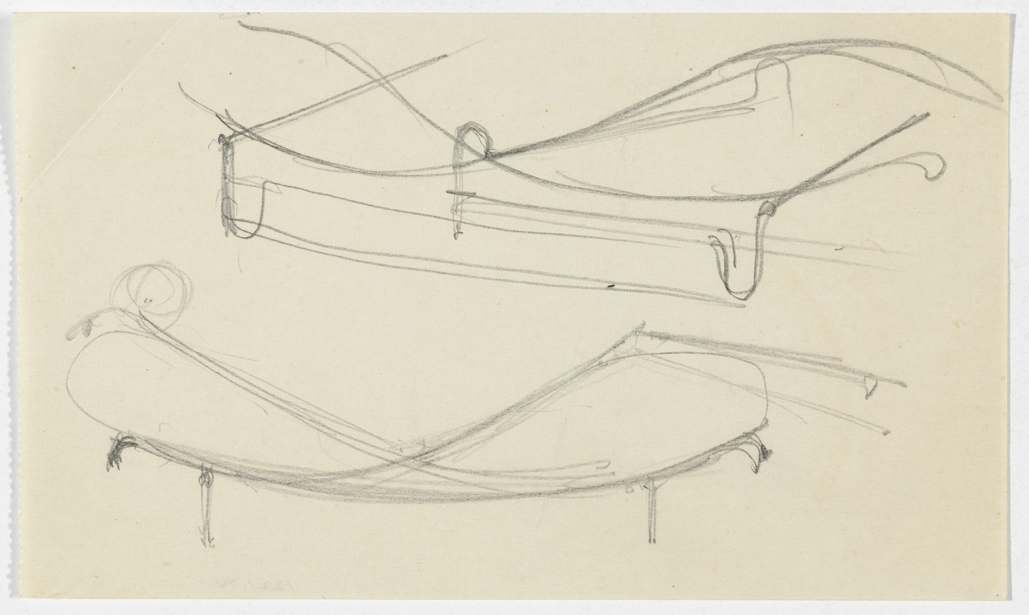 Ludwig Mies van der Rohe. Reclining Chair without Arms (Perspective sketches). 1934