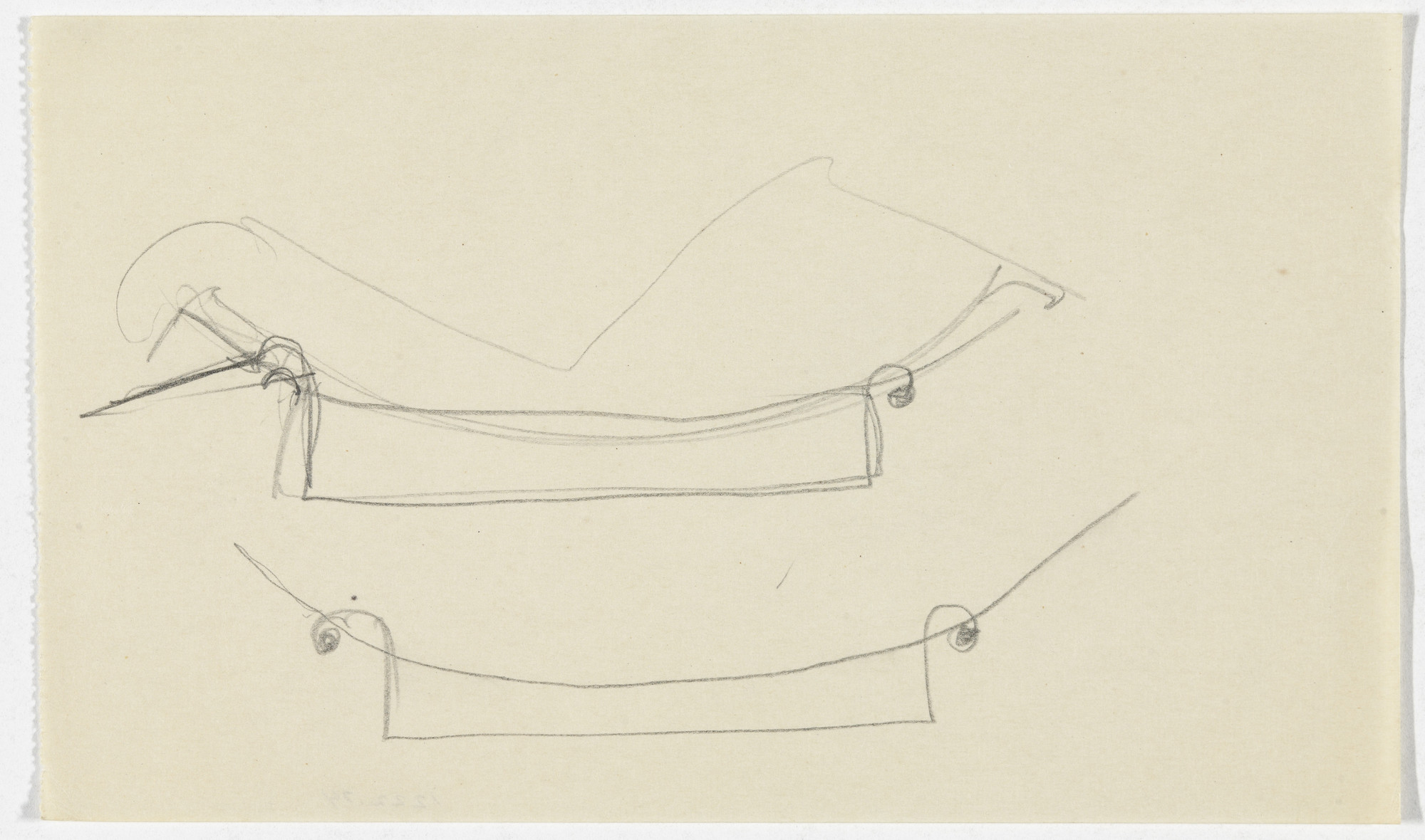 Ludwig Mies van der Rohe. Reclining Chair without Arms (Perspective and elevation sketch). 1934