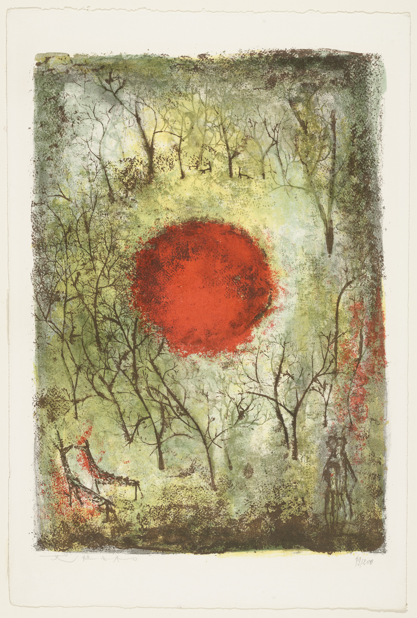 Zao Wou-ki. The red sun (Le soleil rouge). 1950