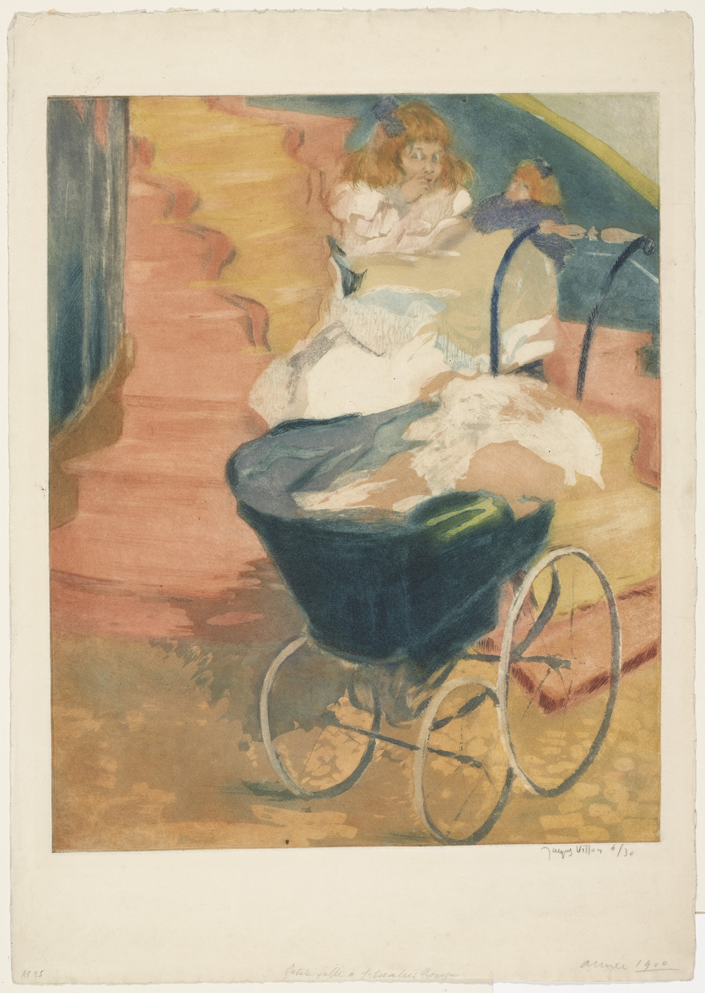 Jacques Villon. Little Girl on a Red Staircase (Petite fille a l'escalier rouge). 1900