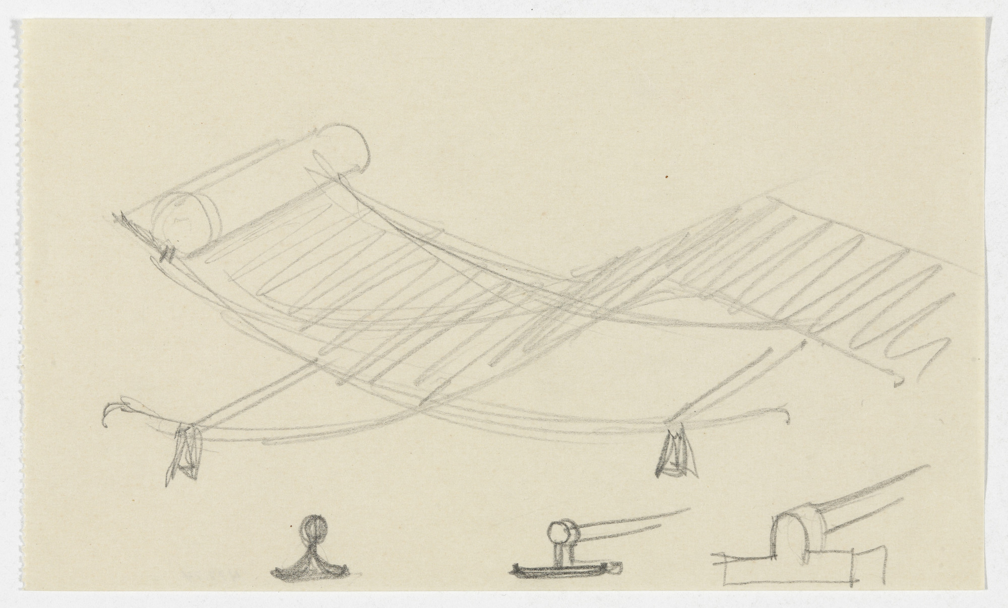 Ludwig Mies van der Rohe. Reclining Chair without Arms (Perspective sketch, three detail sketches). 1934