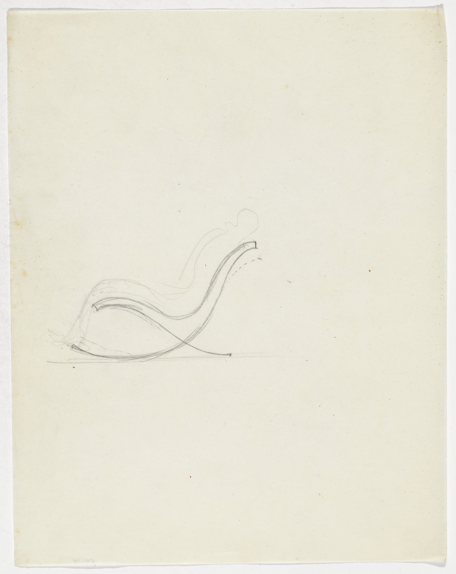 Ludwig Mies van der Rohe. Lounge Chair without Arms (Elevation sketch with figure). 1934