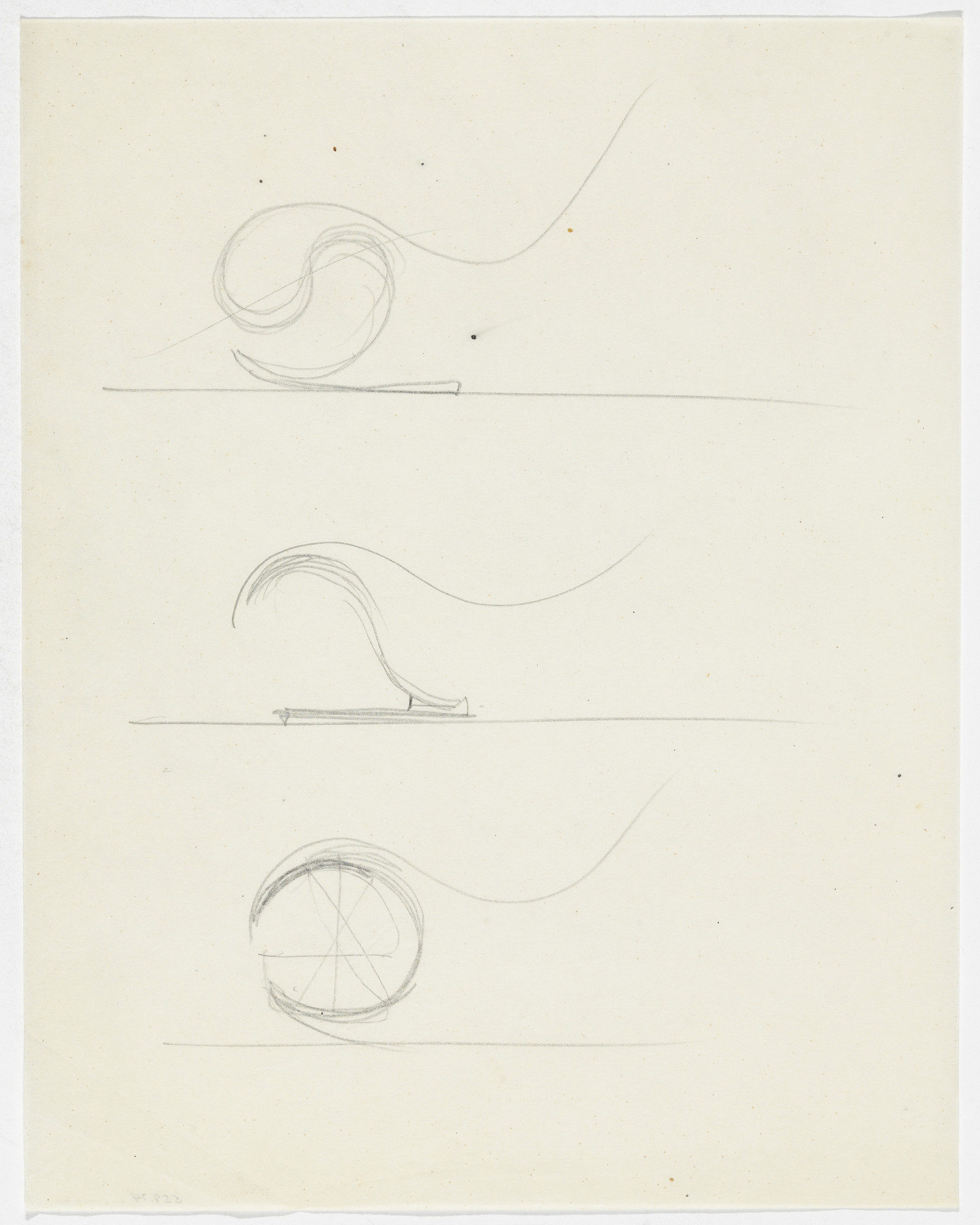 Ludwig Mies van der Rohe. Reclining Chair without Arms (Three elevation sketches). 1933-1934