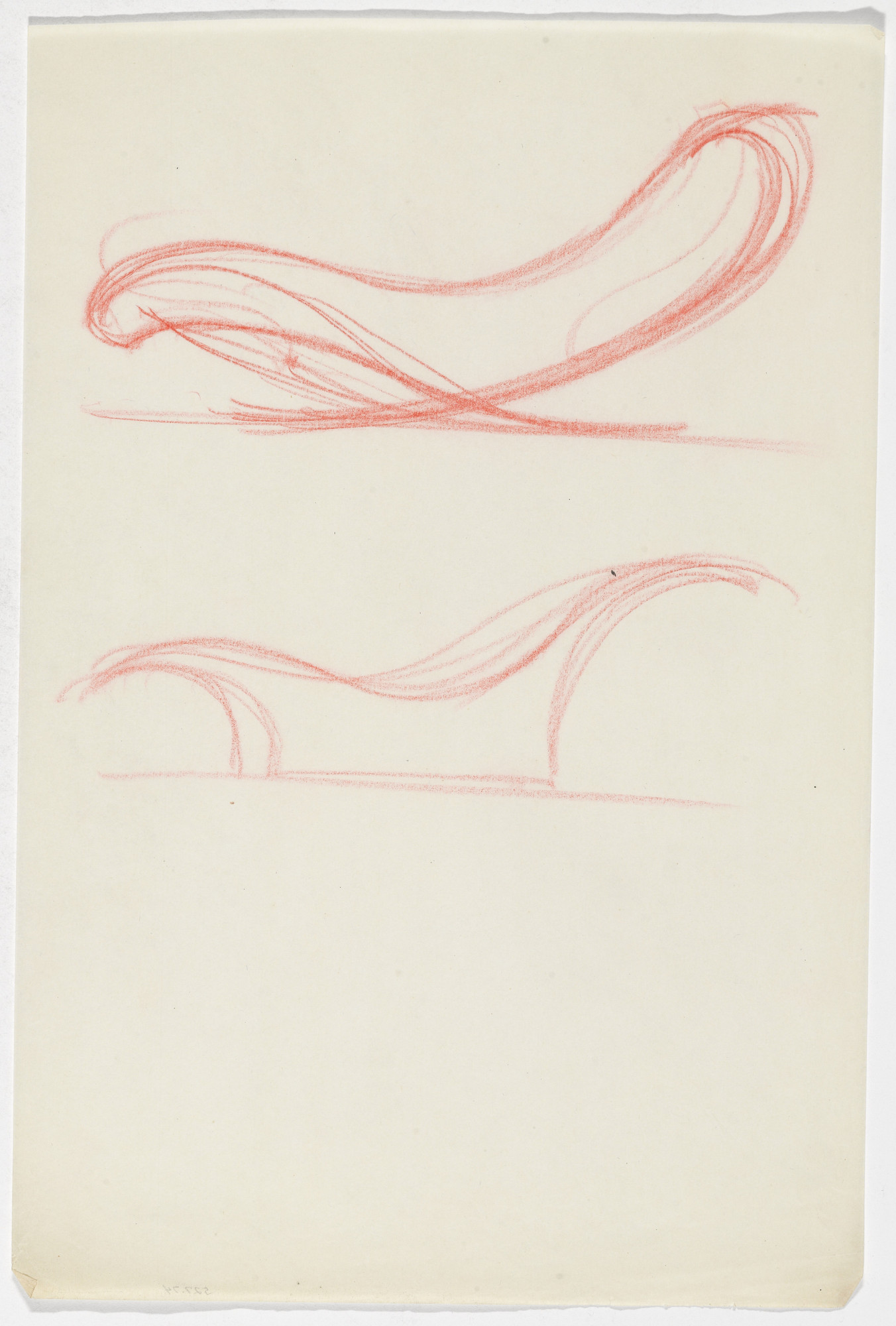 Ludwig Mies van der Rohe. Reclining Chair without Arms (Two elevation sketches). 1934