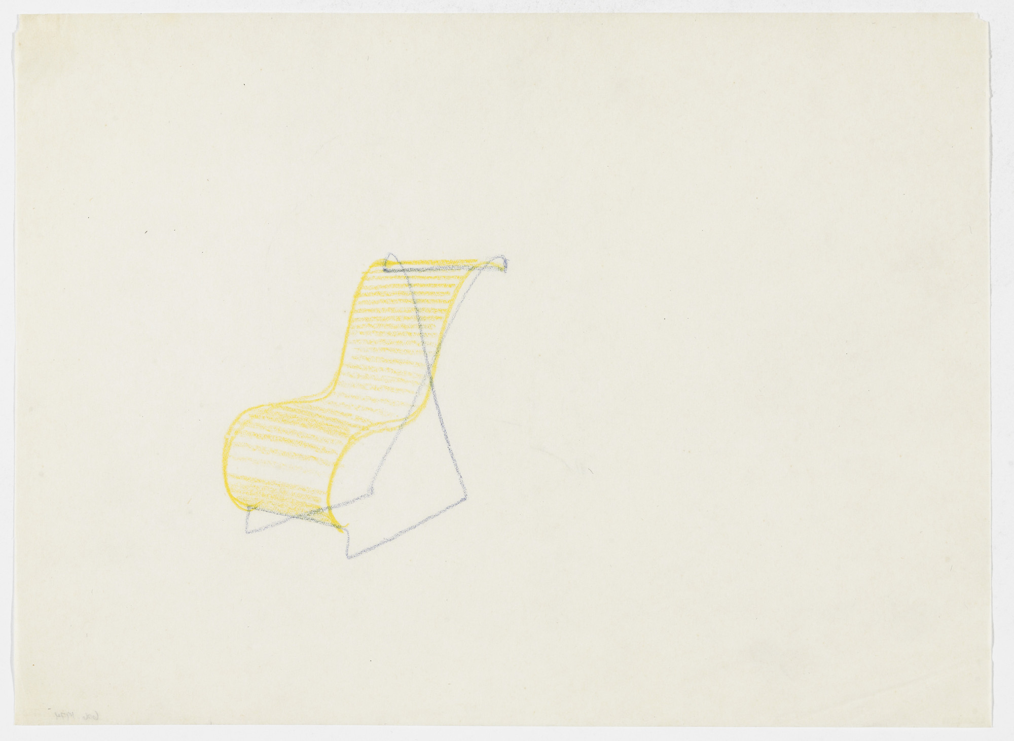 Ludwig Mies van der Rohe. Lounge Chair without Arms (Perspective sketch). 1934
