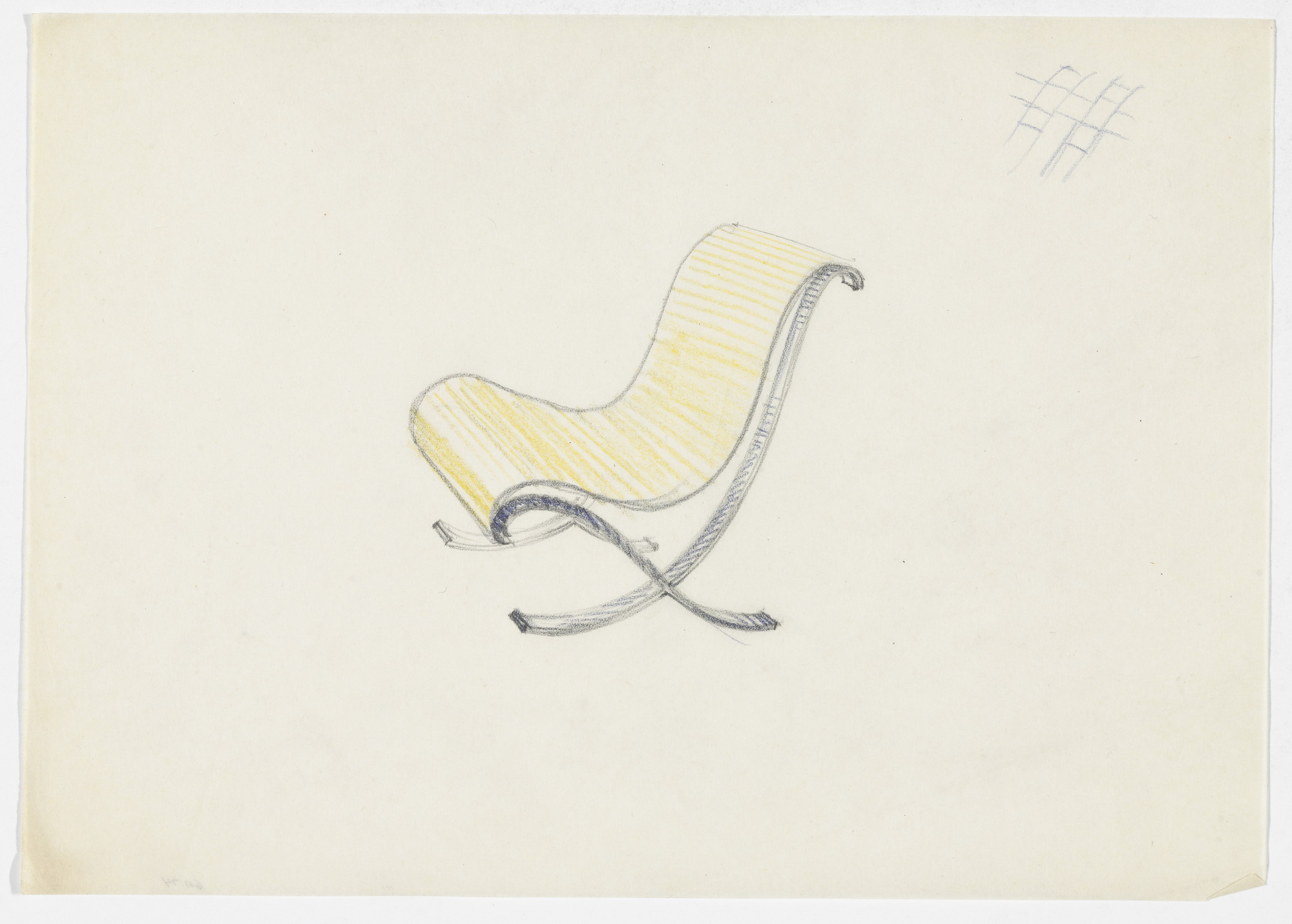 Ludwig Mies van der Rohe. Lounge Chair without Arms (Perspective sketch; webbing detail sketch). 1934 | MoMA